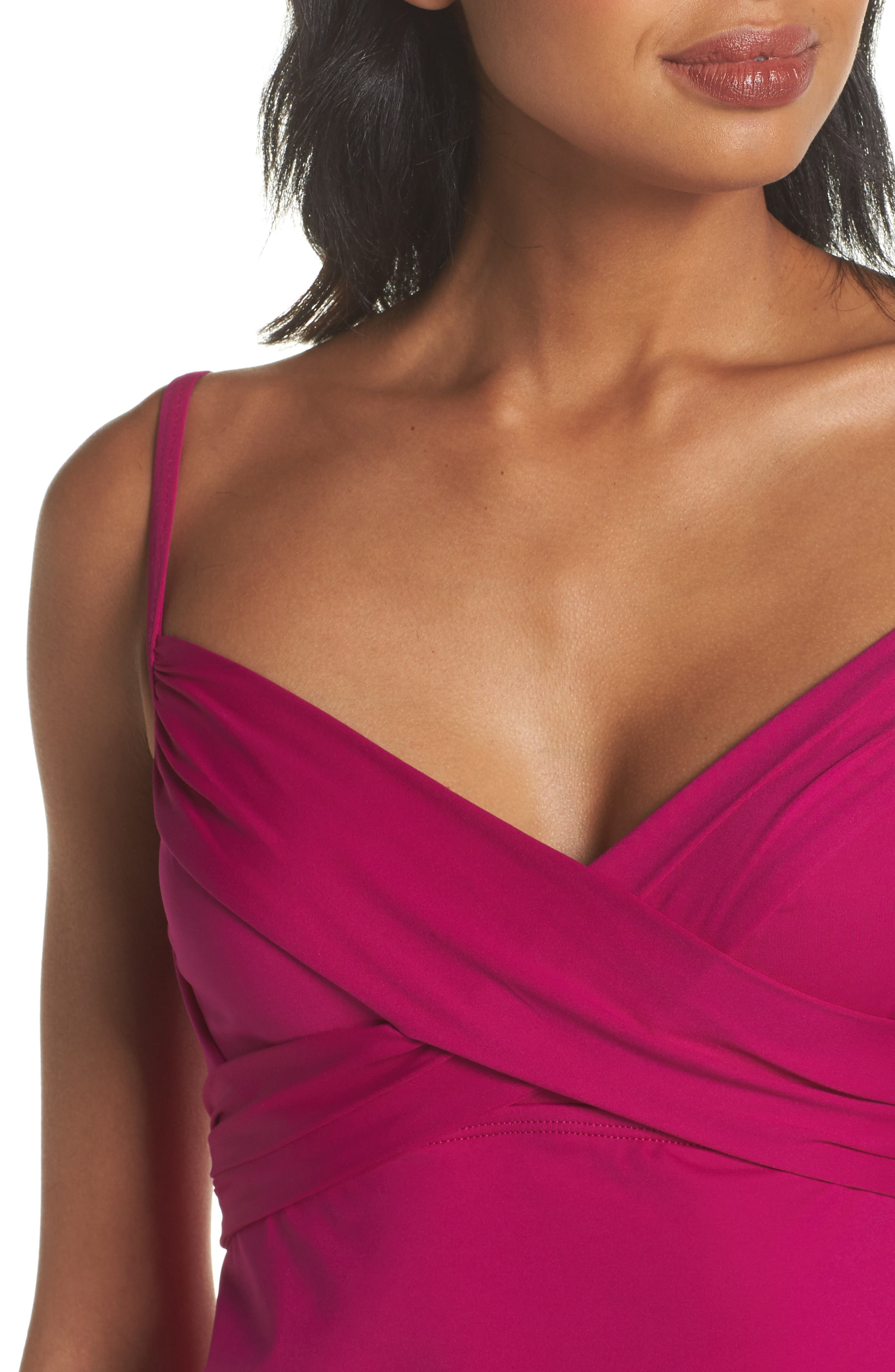 Island Goddess Underwire Tankini Top,                             Alternate thumbnail 4, color,                             Magenta
