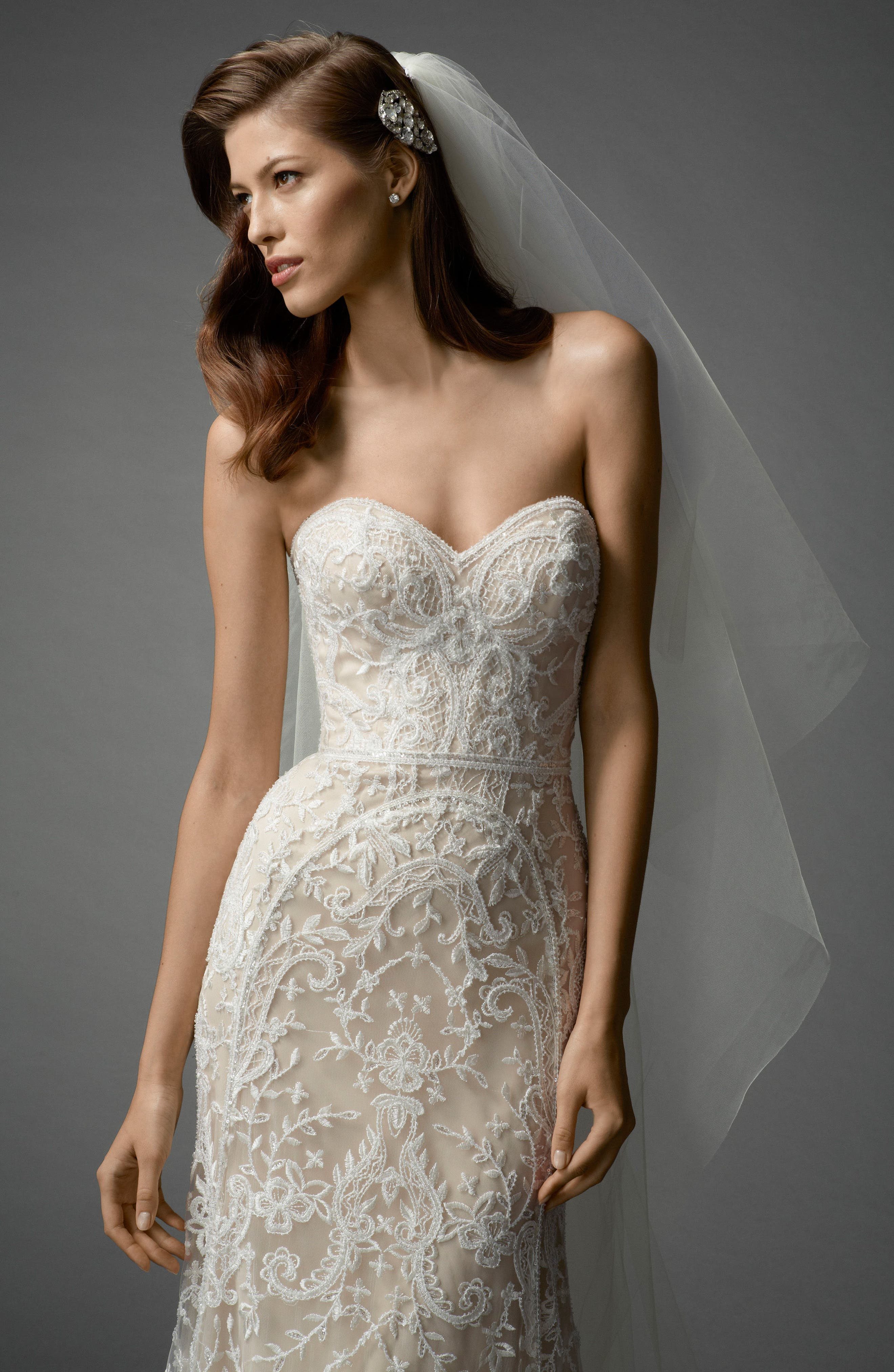 Nyra Embroidered Strapless A-Line Gown,                             Alternate thumbnail 3, color,                             Ivory/Almond