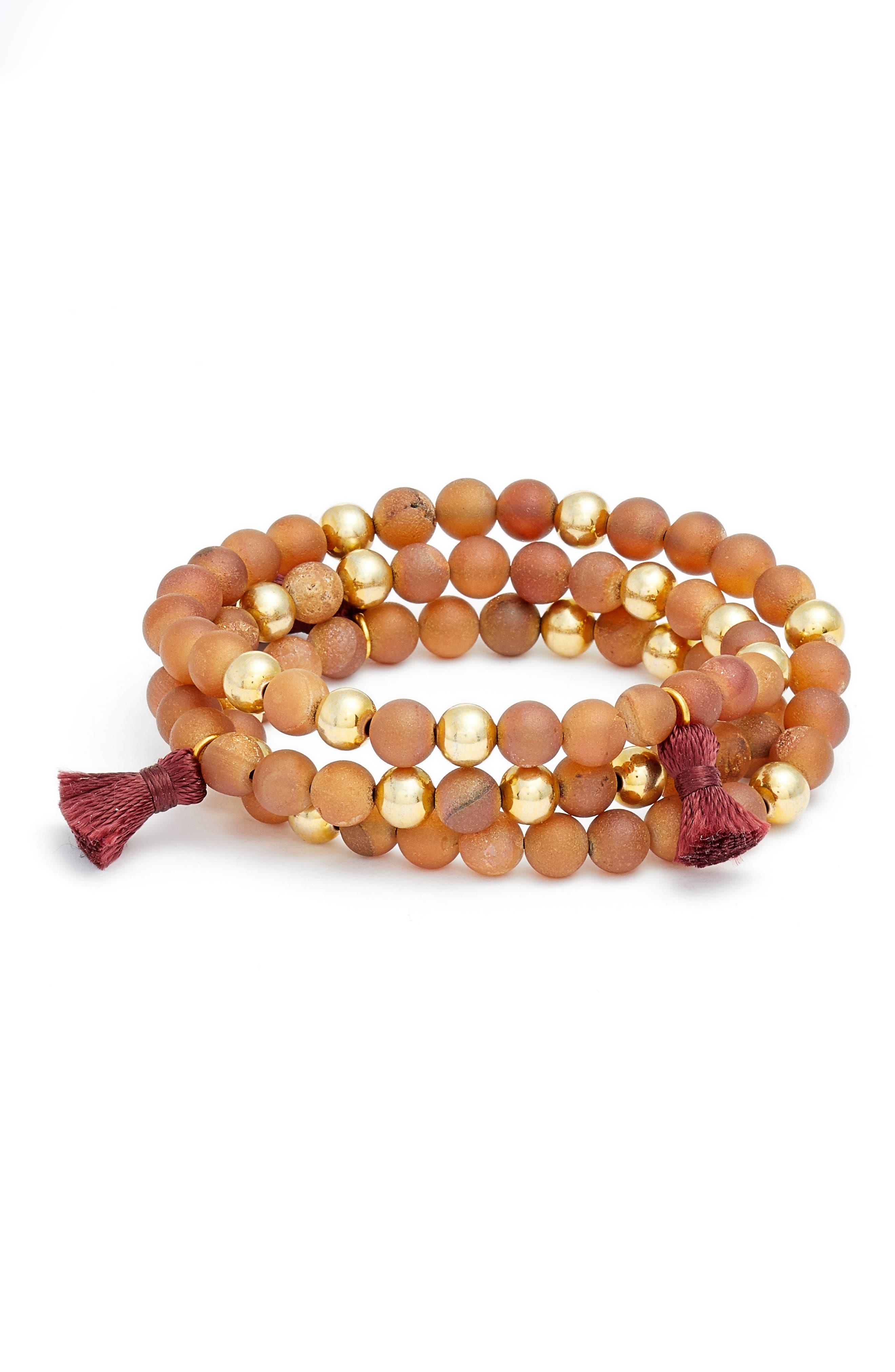 Main Image - gorjana Hannah Drusy Tassel Wrap Bracelet