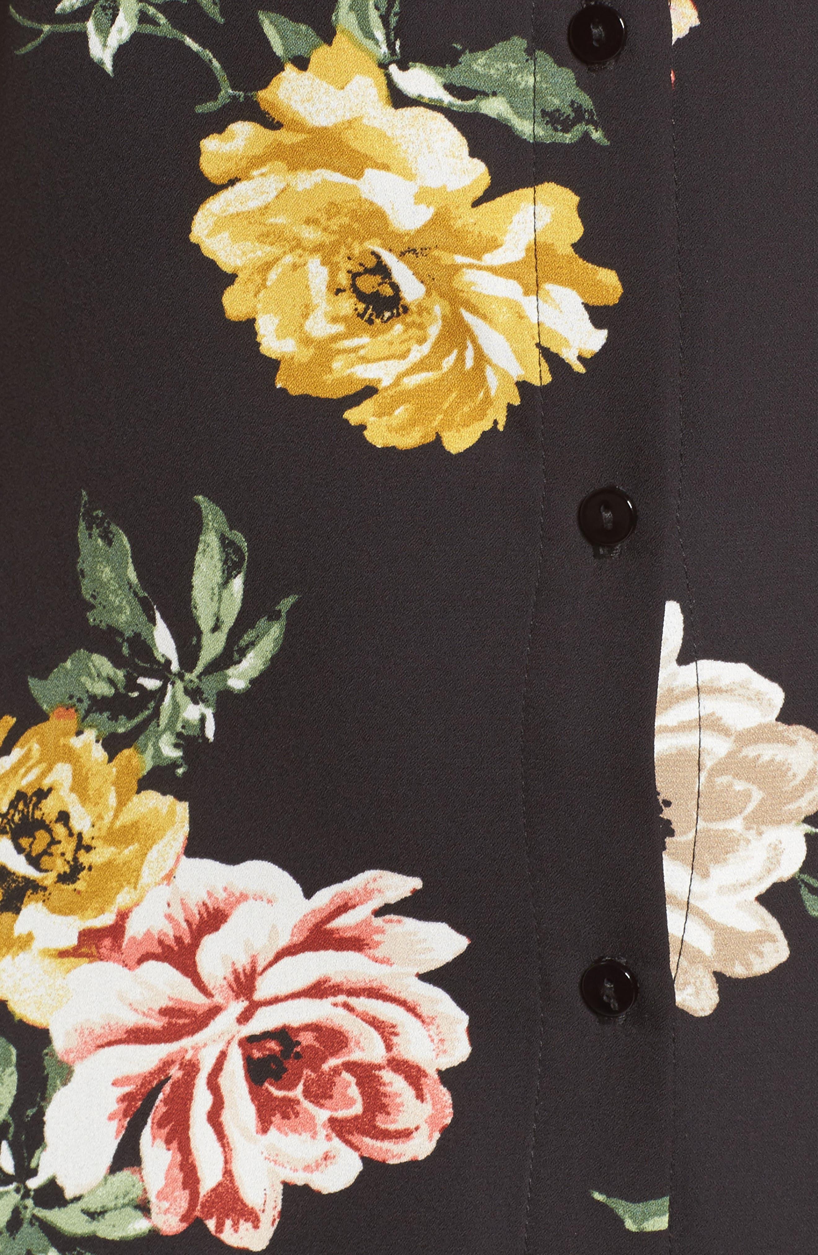 Floral Ruffle Strap Maxi Dress,                             Alternate thumbnail 5, color,                             Black Large Floral Print