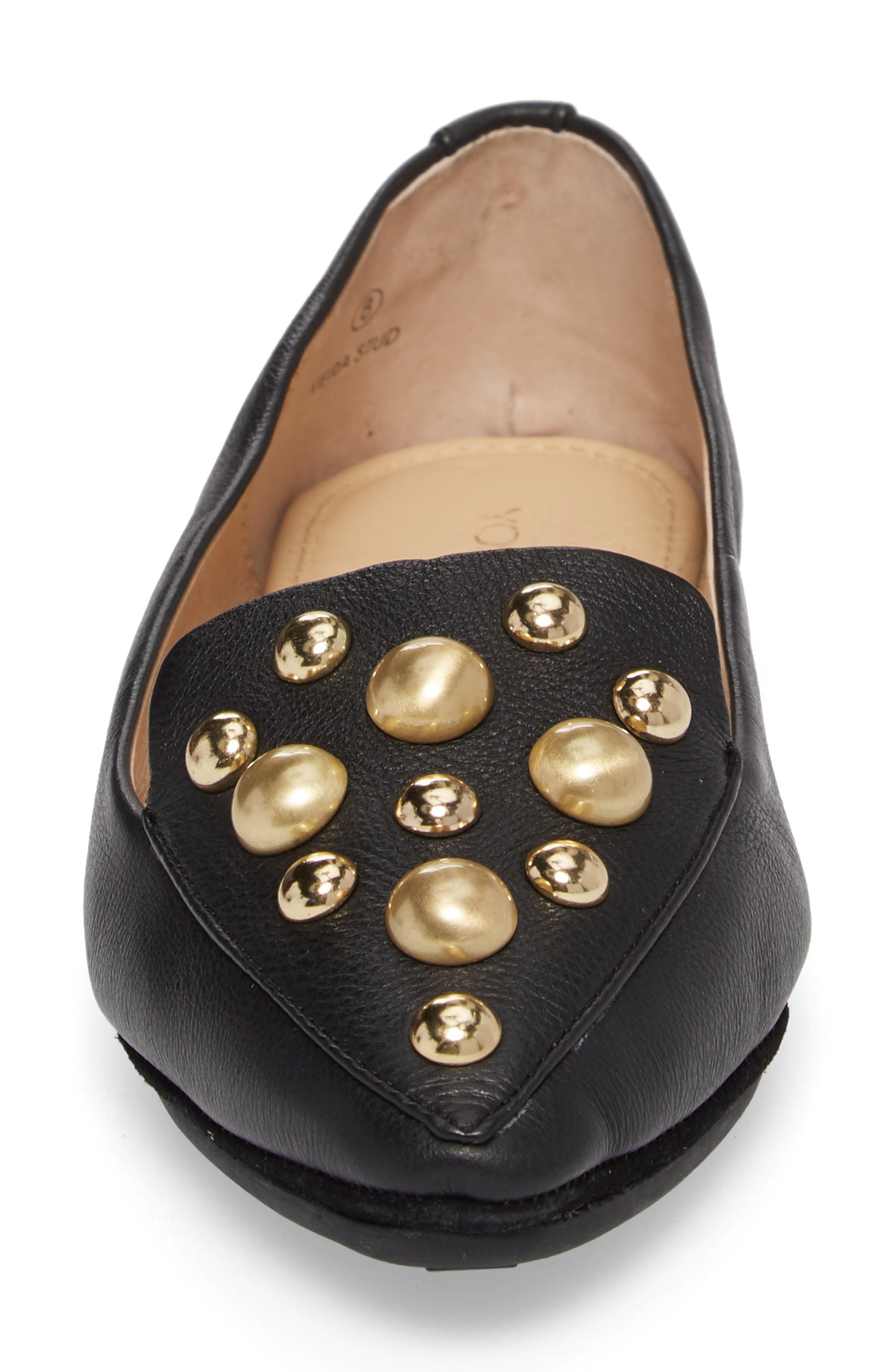 Vera Studded Loafer,                             Alternate thumbnail 4, color,                             Black/ Black Leather