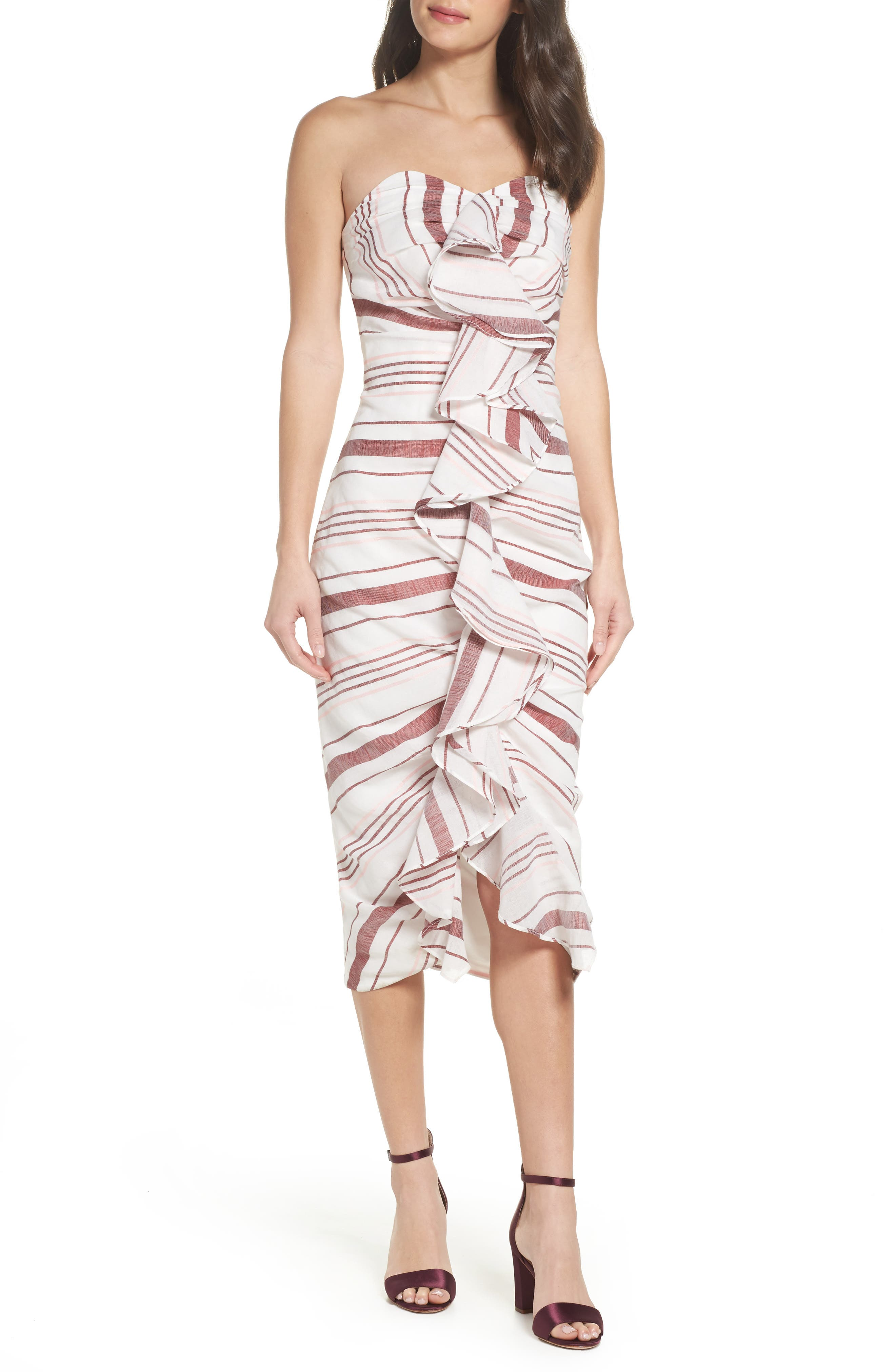 On Her Own Strapless Midi Dress,                             Main thumbnail 1, color,                             Ivory Stripe