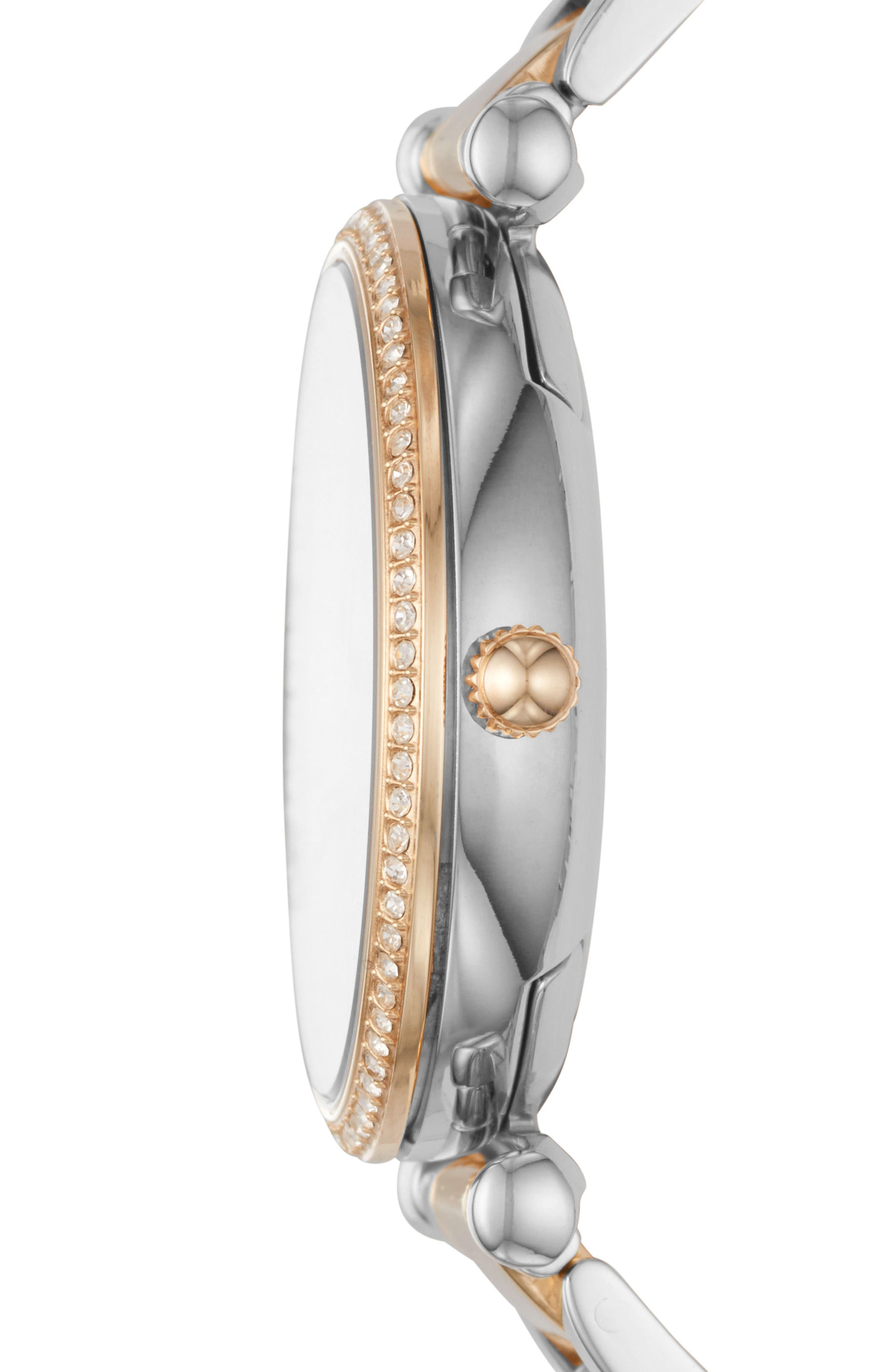 Carlie T-Bar Crystal Bracelet Watch, 35mm,                             Alternate thumbnail 2, color,                             Gold/ Silver