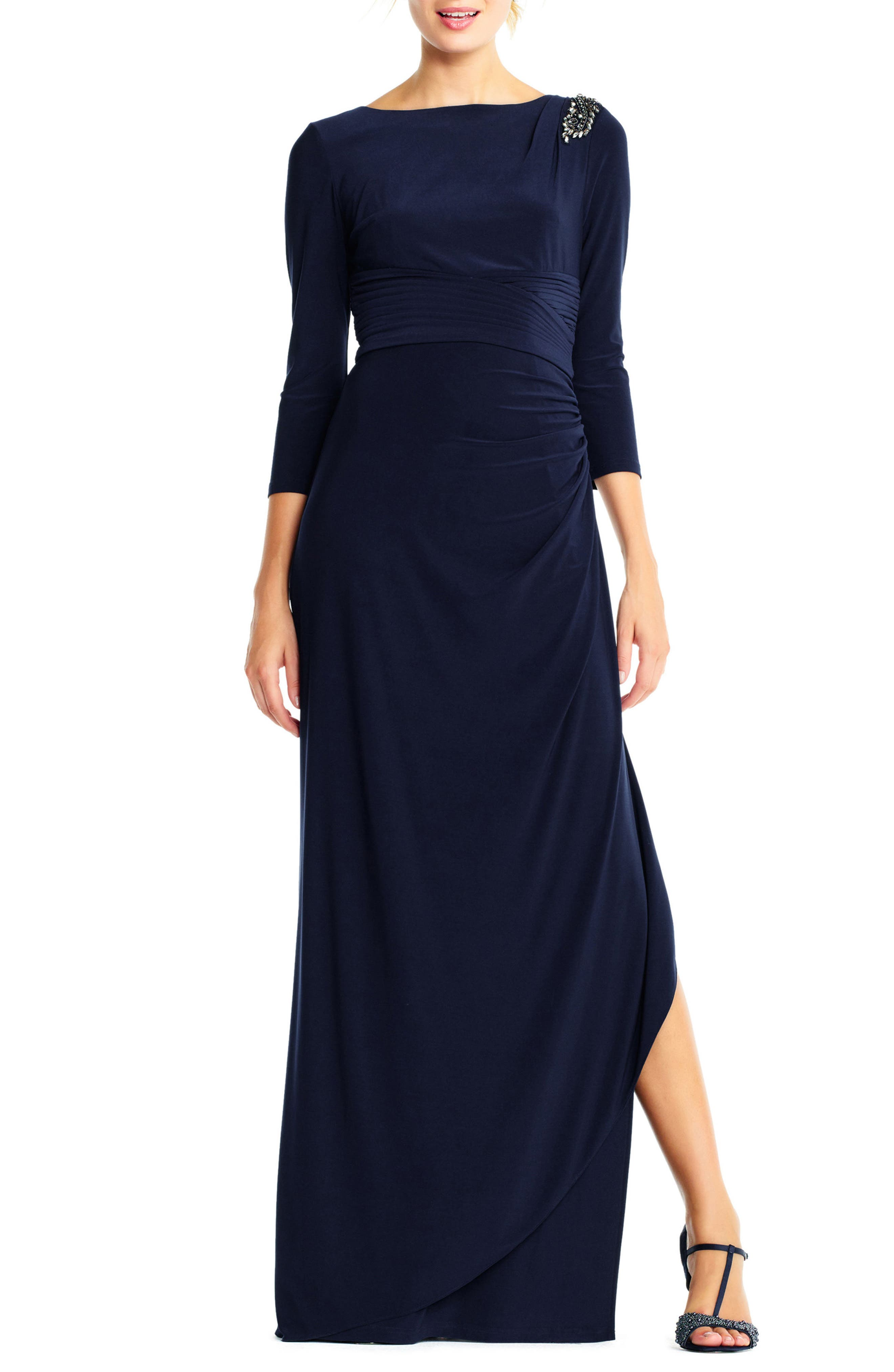 Jewel Shoulder Jersey Gown,                             Main thumbnail 1, color,                             Midnight