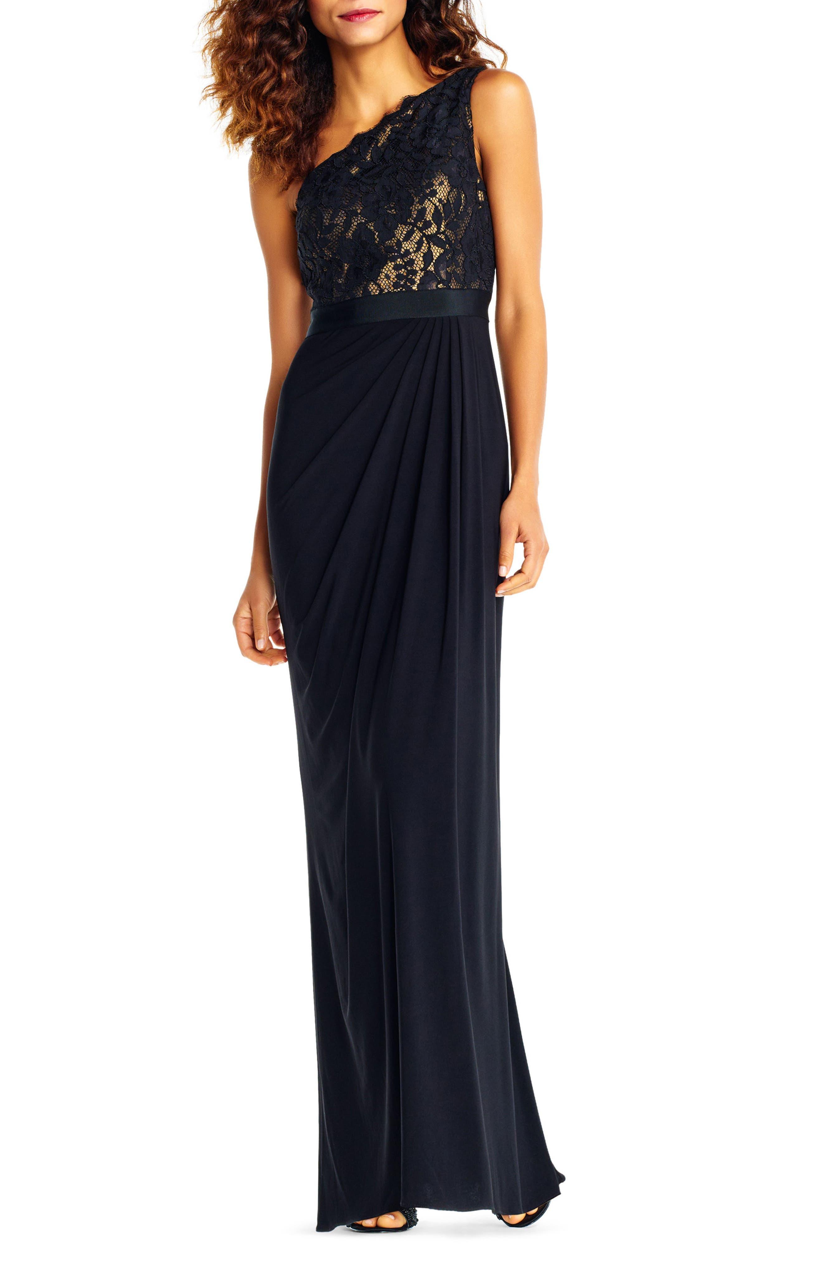 Lace One-Shoulder Gown,                             Main thumbnail 1, color,                             Black/Copper