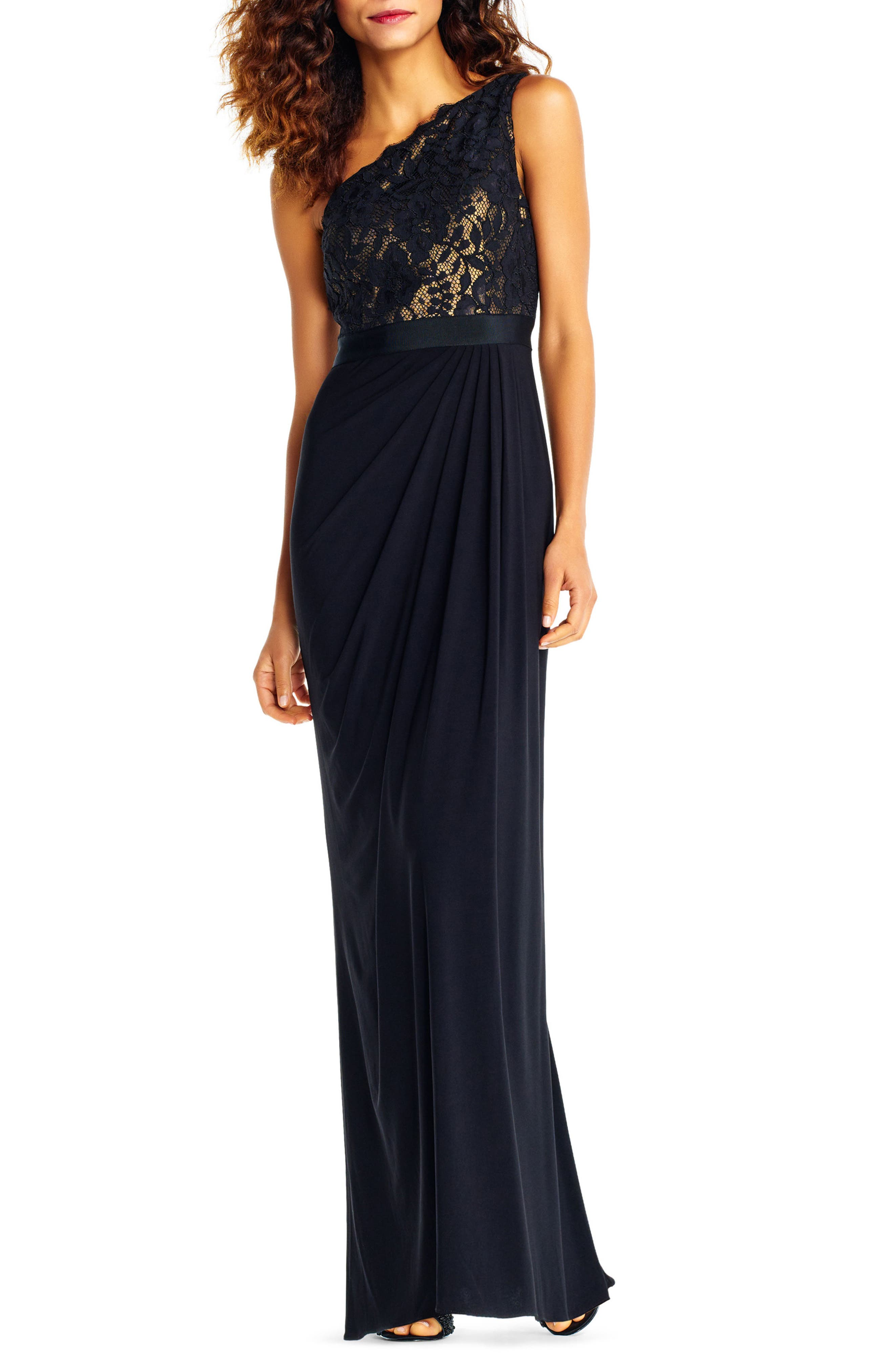 Adrianna Papell Lace One-Shoulder Gown