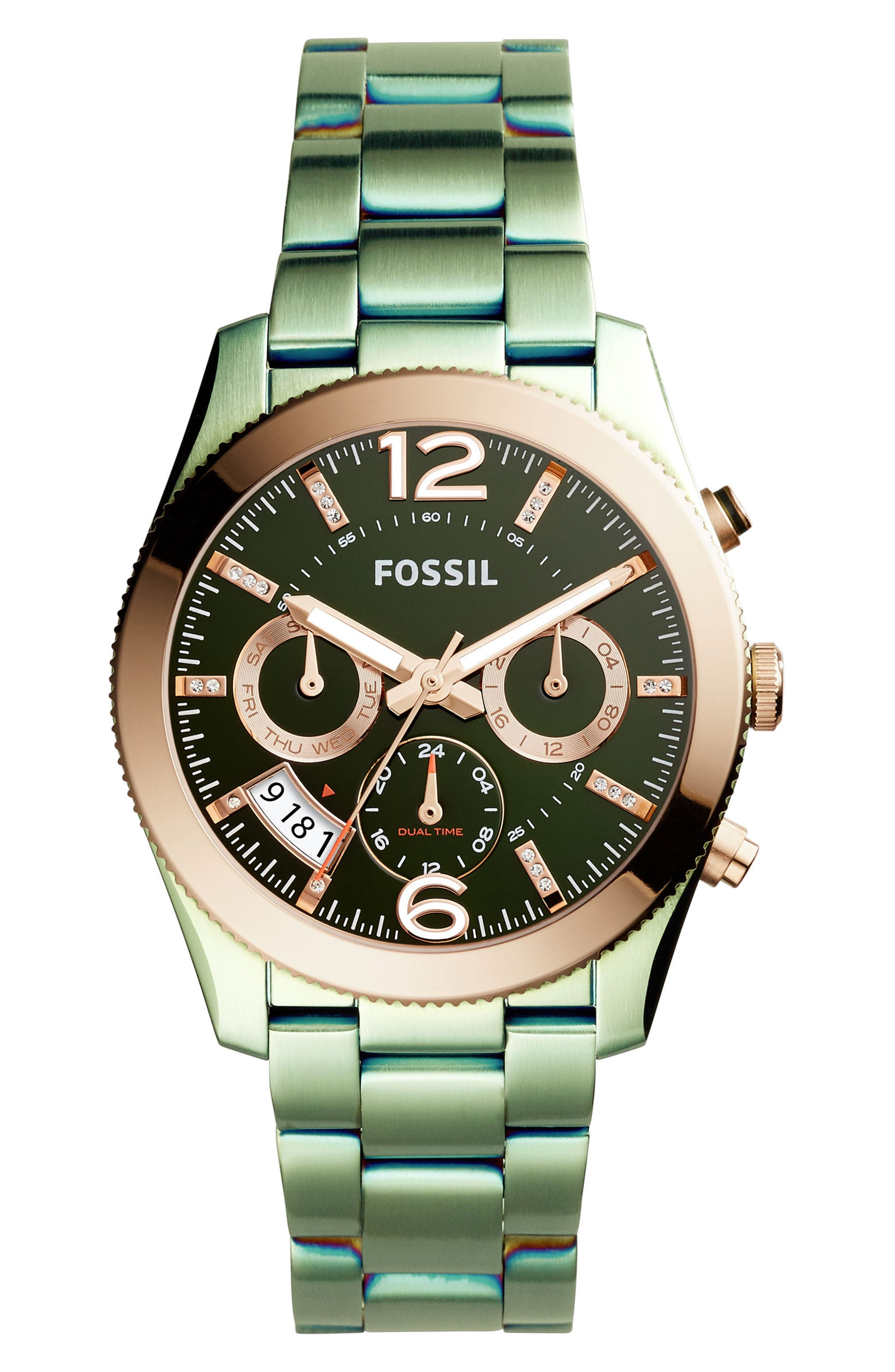 Alternate Image 1 Selected - Fossil 'Perfect Boyfriend' Multifunction Bracelet Watch, 39mm