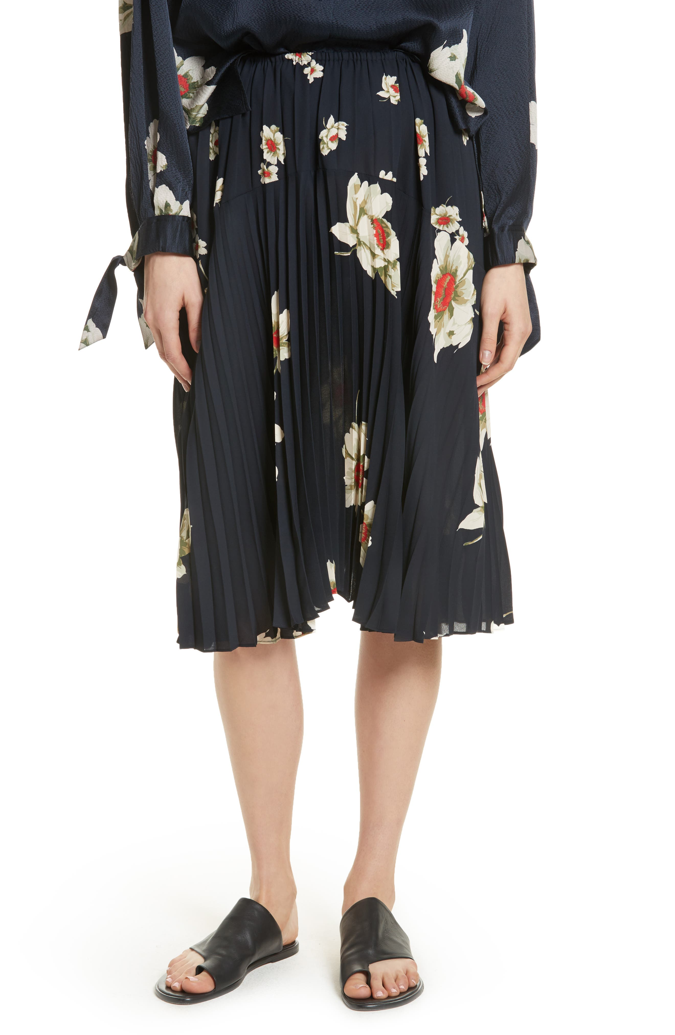 Gardenia Floral Pleated Skirt,                             Main thumbnail 1, color,                             Coastal
