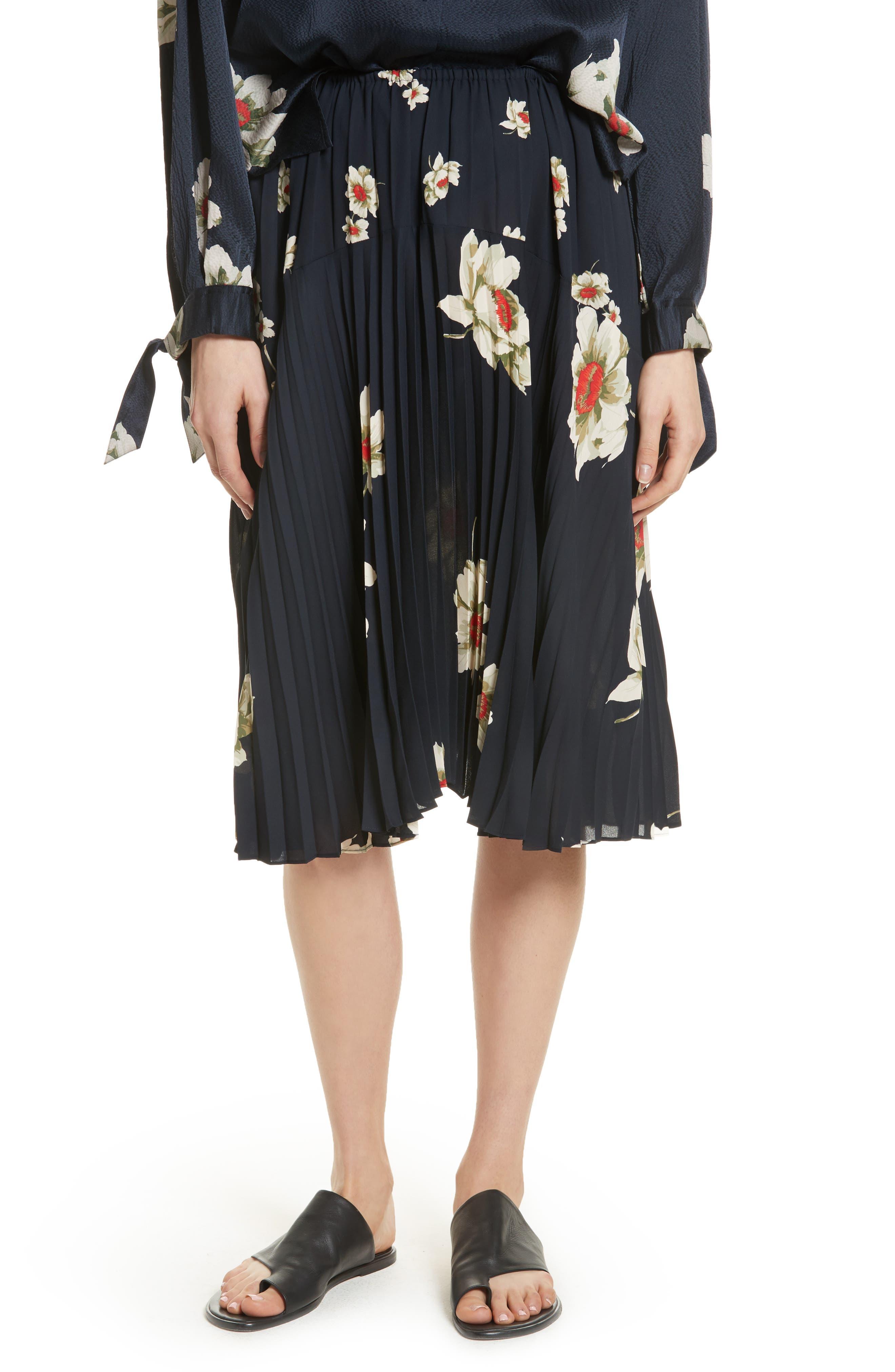 Vince Gardenia Floral Pleated Skirt