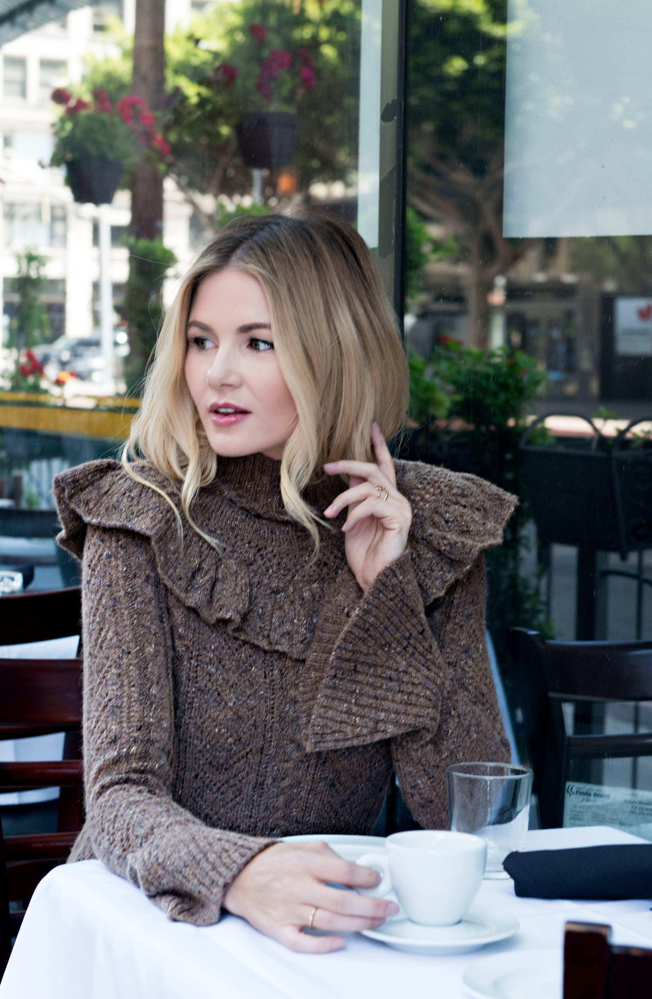 Pointelle Turtleneck Sweater,                             Alternate thumbnail 2, color,                             Toffee