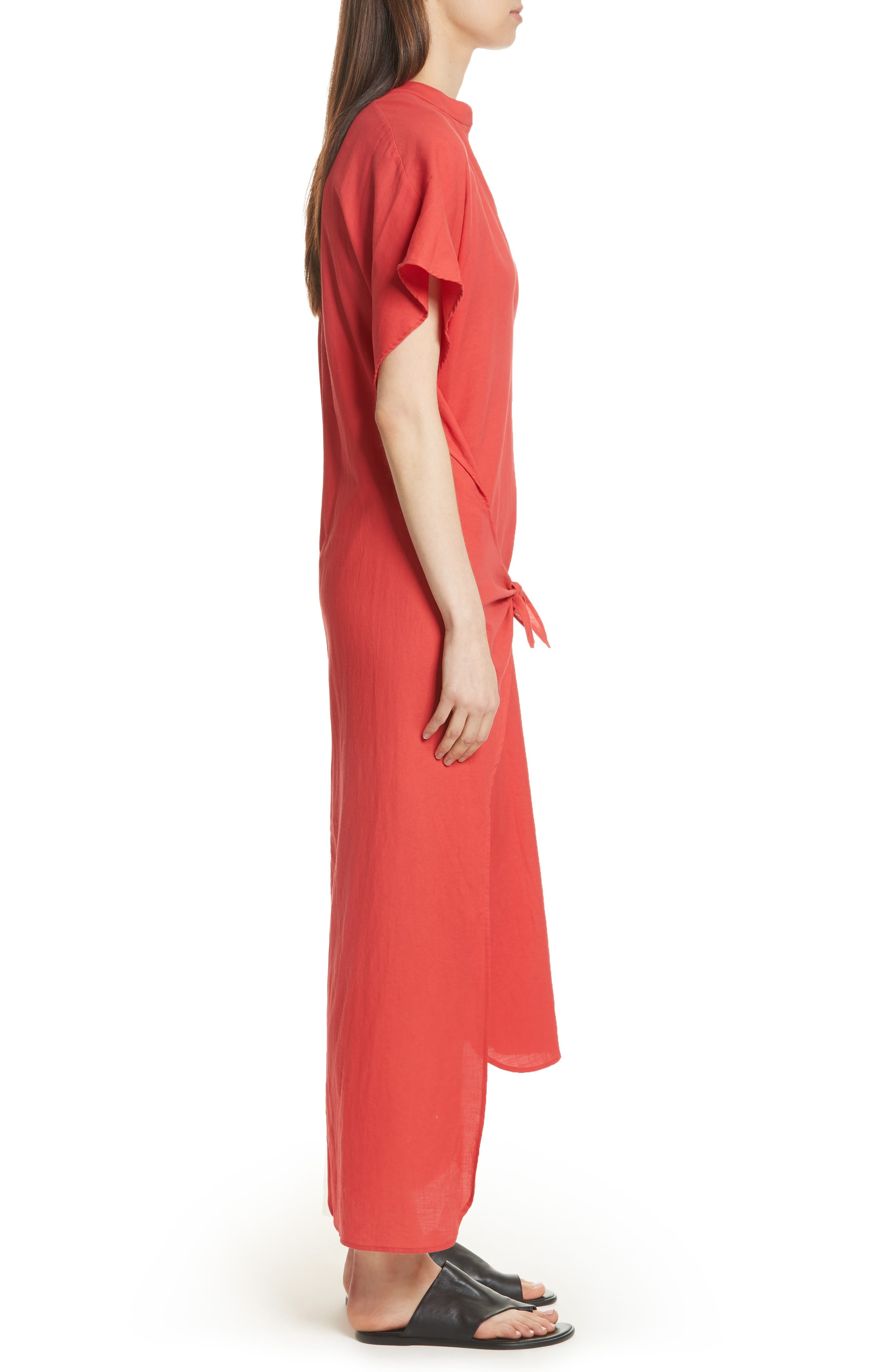 Wrap Front Maxi Dress,                             Alternate thumbnail 3, color,                             Poppy