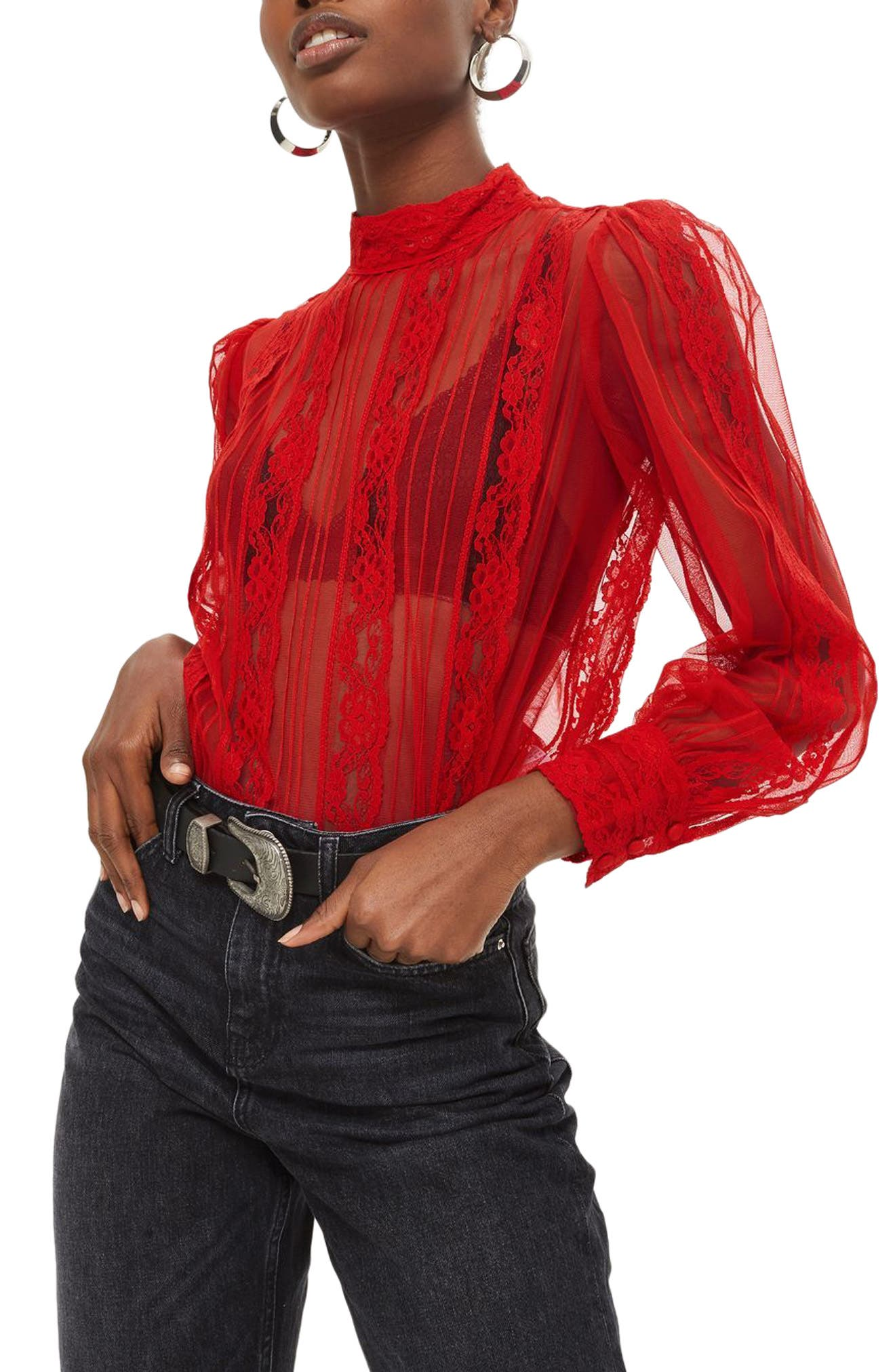 Topshop Pintuck Lace Blouse