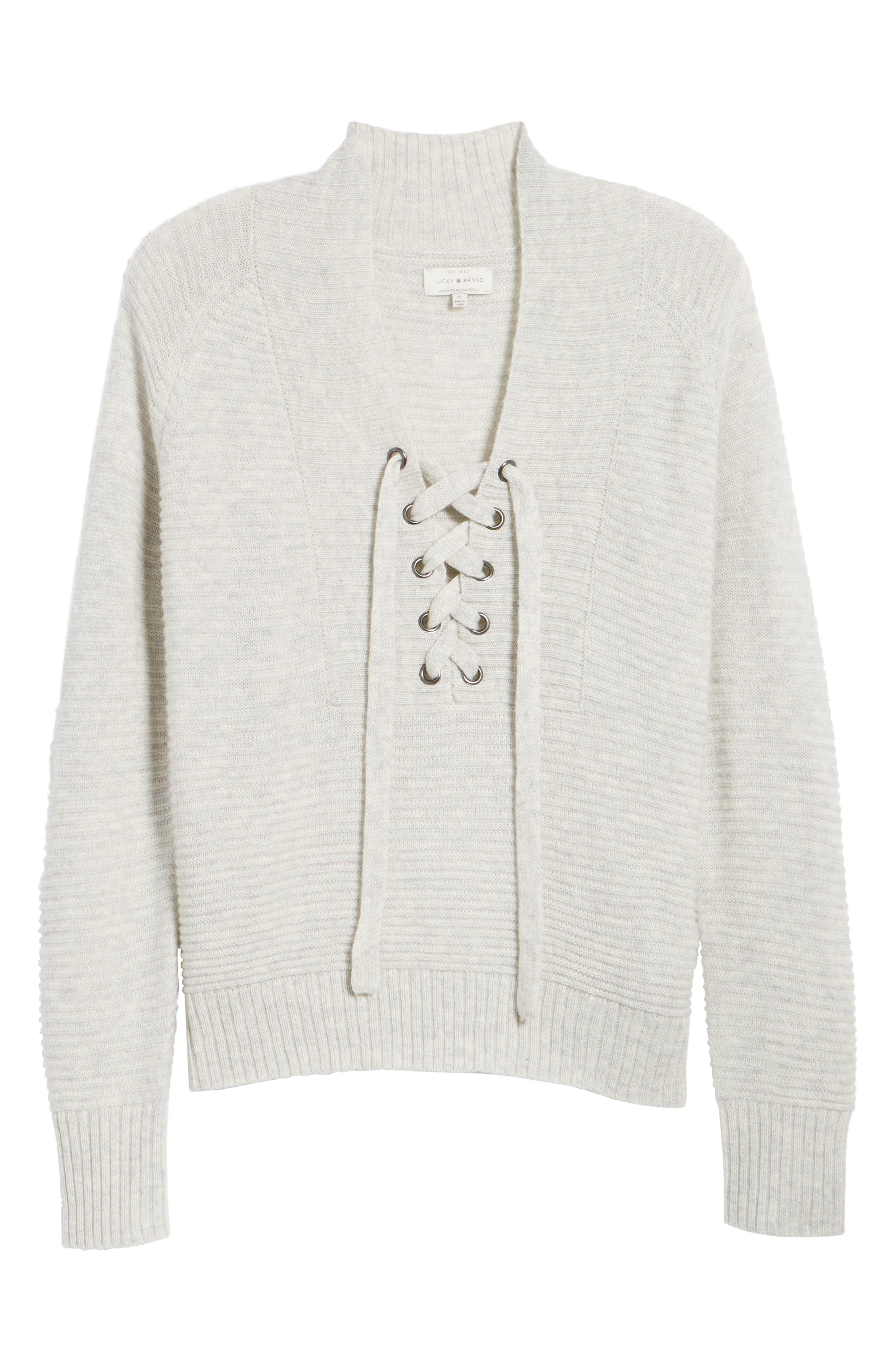 Lace-Up Sweater,                             Main thumbnail 1, color,                             Mercury