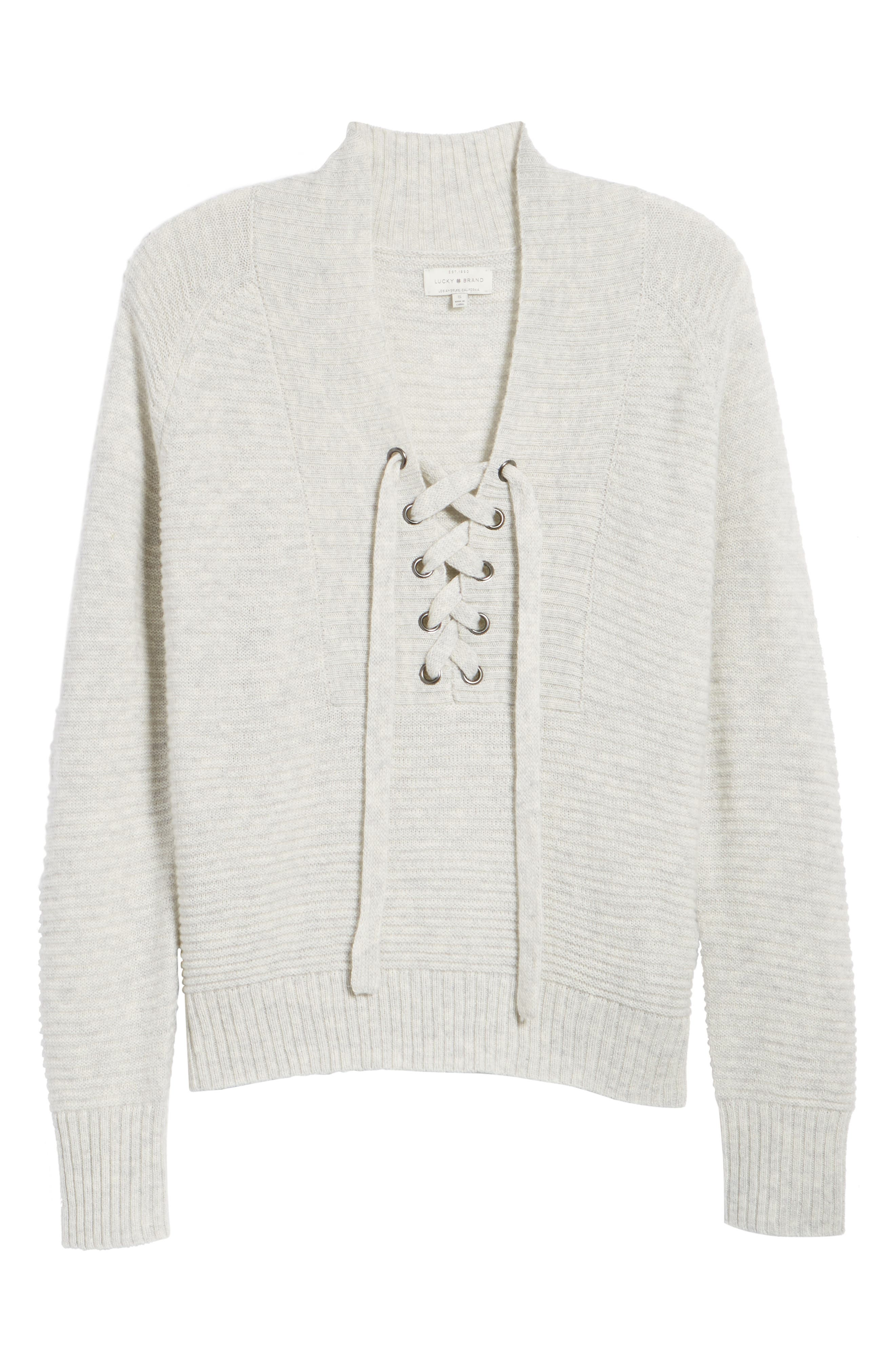 Lace-Up Sweater,                         Main,                         color, Mercury