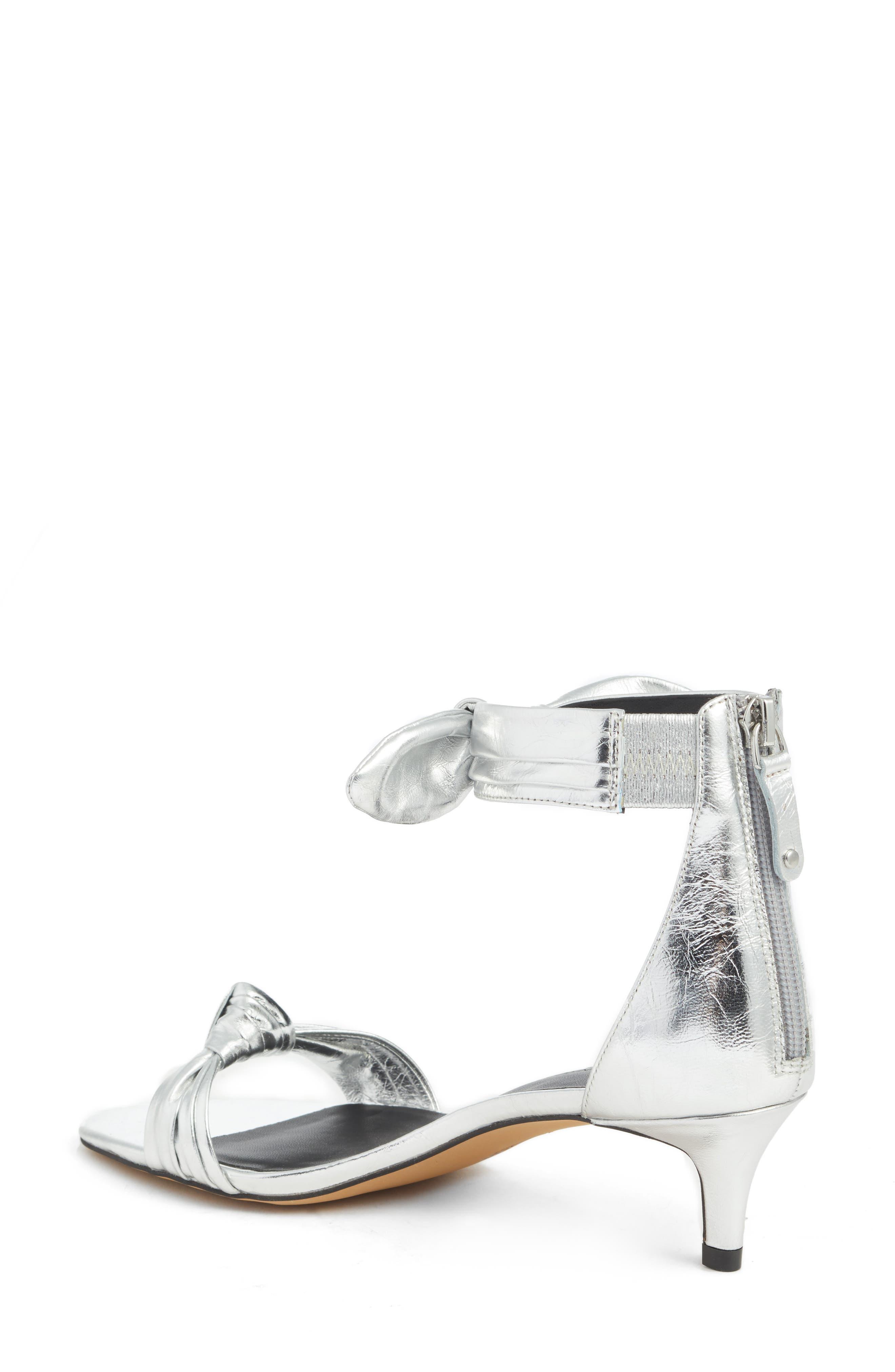 Kaley Knotted Kitten Heel Sandal,                             Alternate thumbnail 2, color,                             Silver Metallic Leather