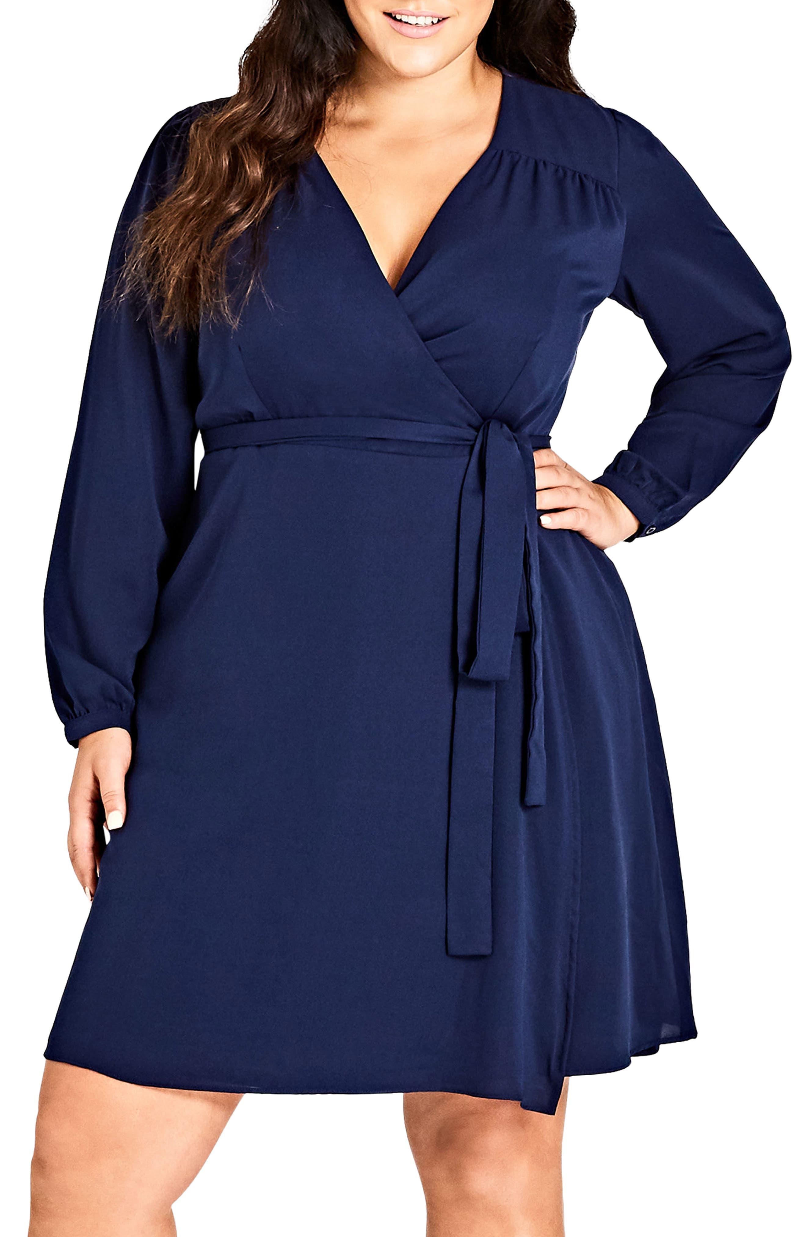 Mia Wrap Dress,                         Main,                         color, Navy