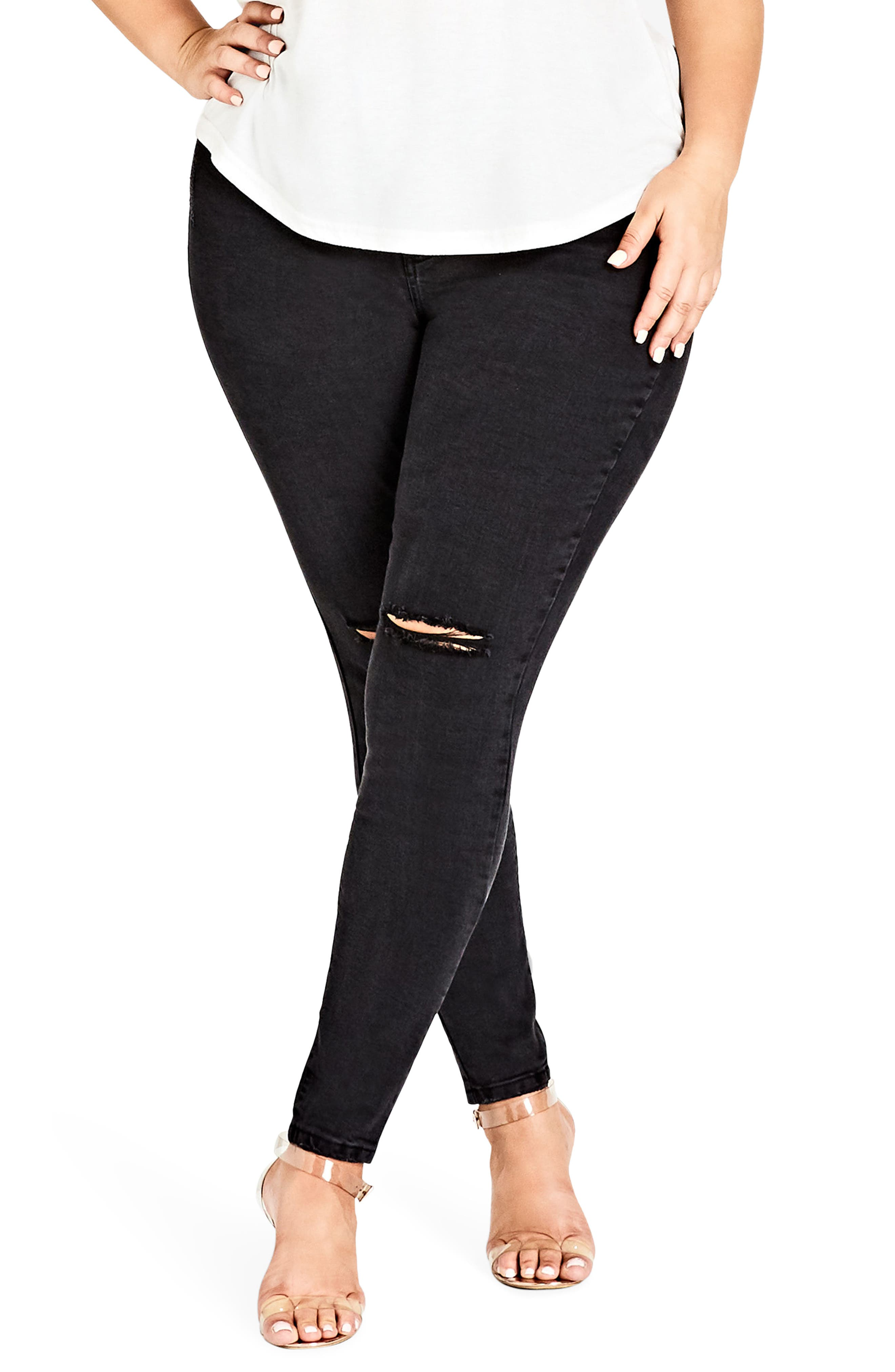 City Chic Ripped Knee Skinny Jeans (Plus Size)