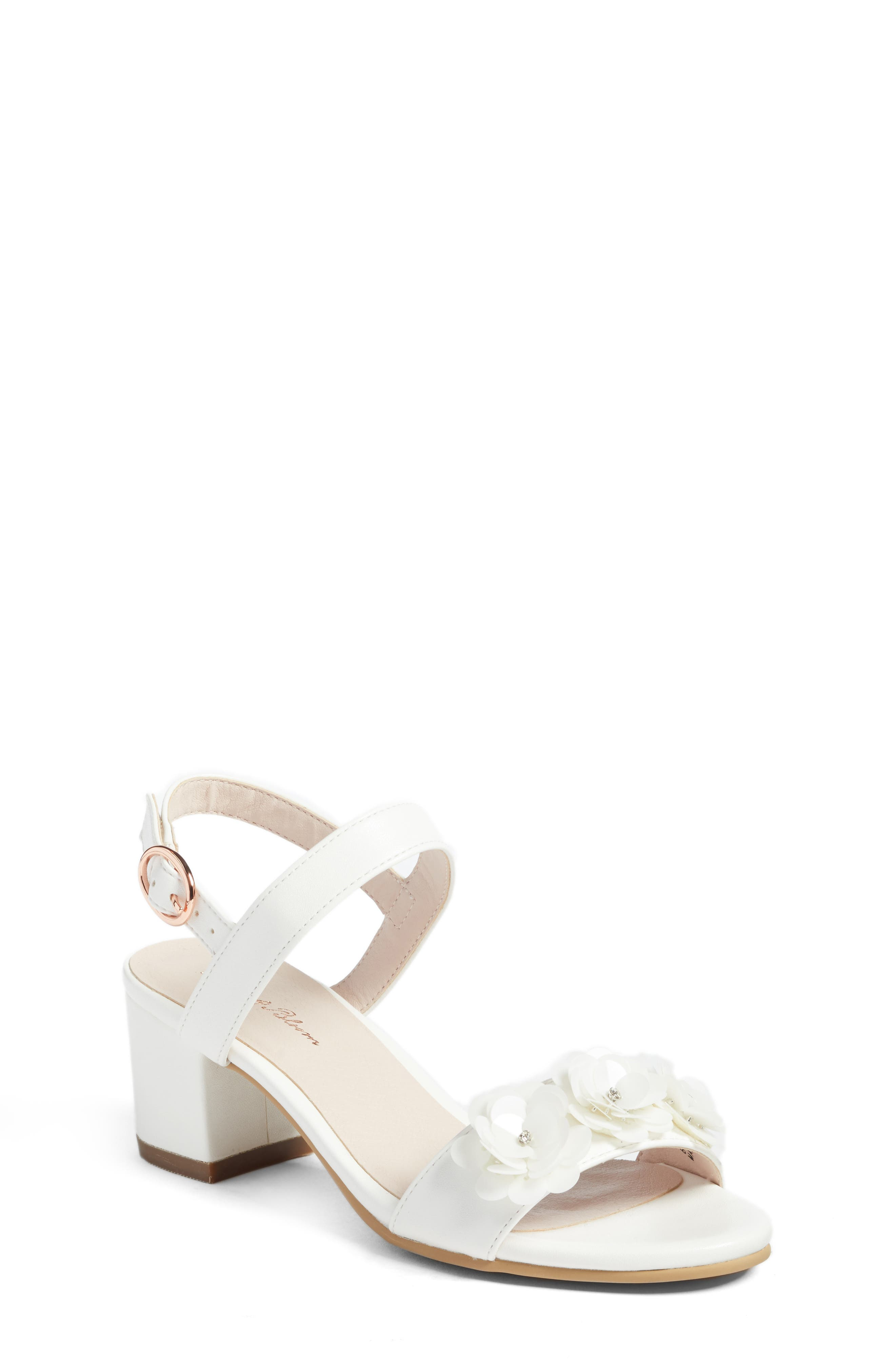 Dina Flowered Sandal,                             Main thumbnail 1, color,                             White Faux Leather