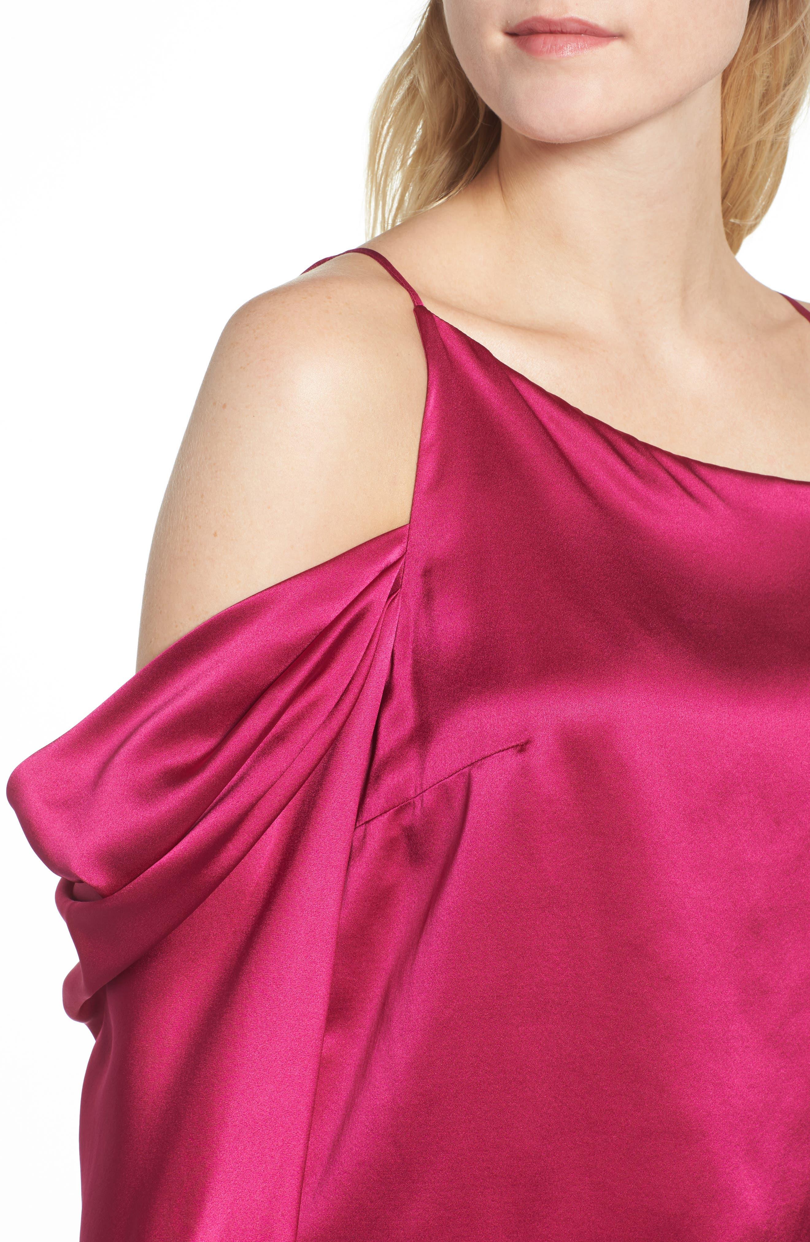 Amelia Asymmetrical Silk Blouse,                             Alternate thumbnail 4, color,                             Beetroot