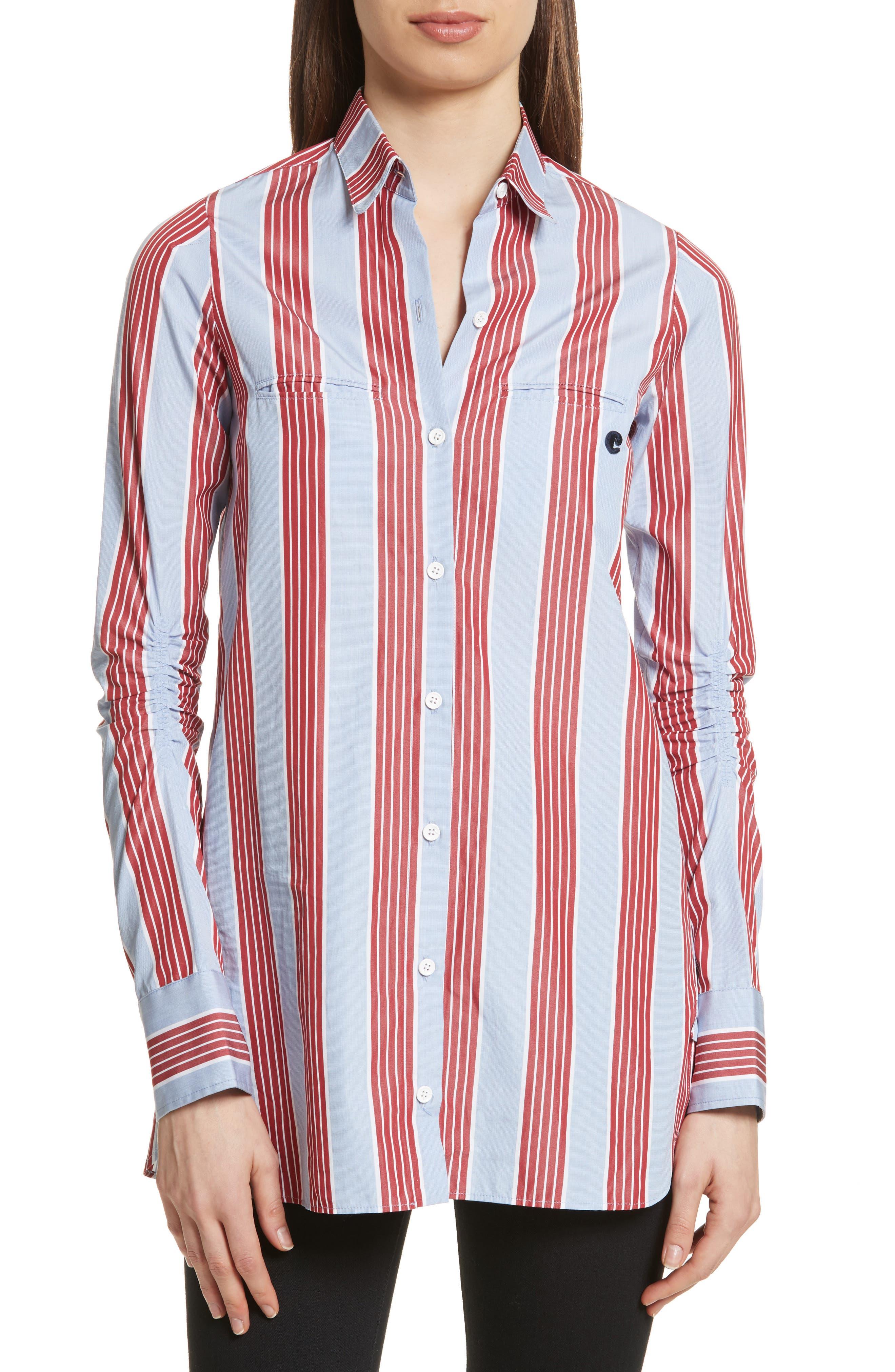 Chemise Manches Longues Stripe Shirt,                             Main thumbnail 1, color,                             Bleu Acier/ Rouge Fonce