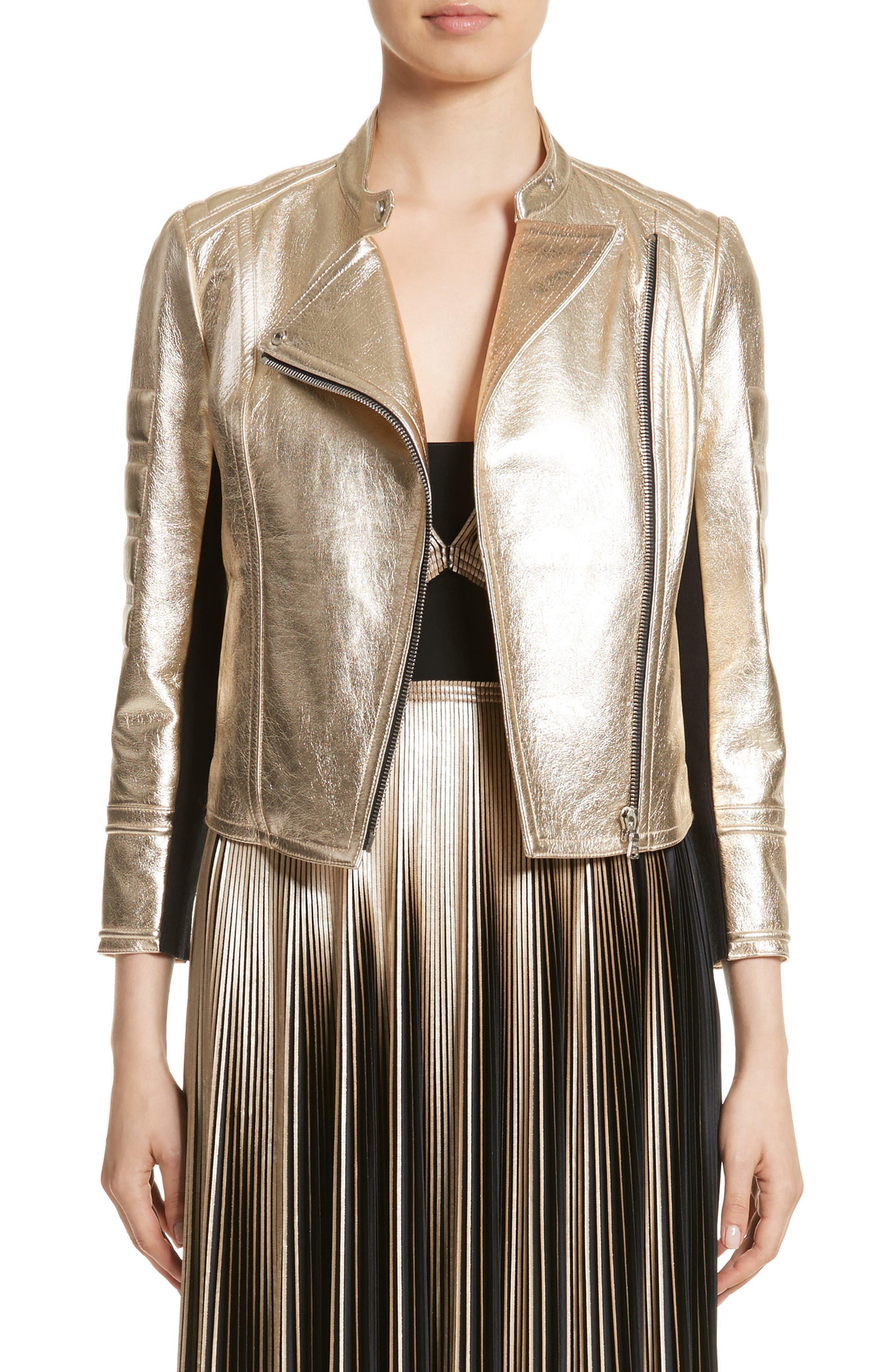 Foiled Metallic Leather Moto Jacket,                         Main,                         color, Platinum