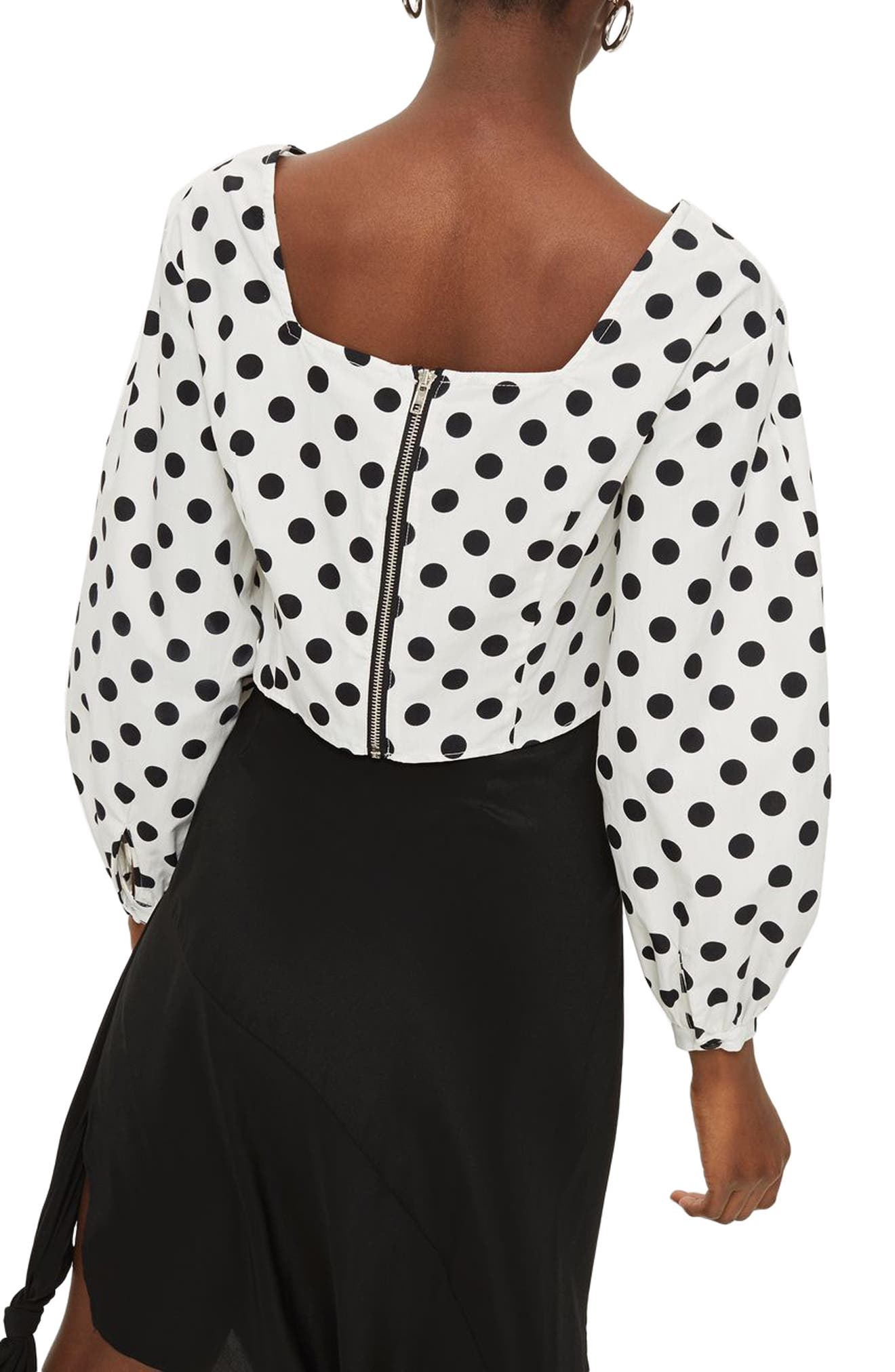 Polka Dot Balloon Sleeve Crop Top,                             Alternate thumbnail 2, color,                             White Multi