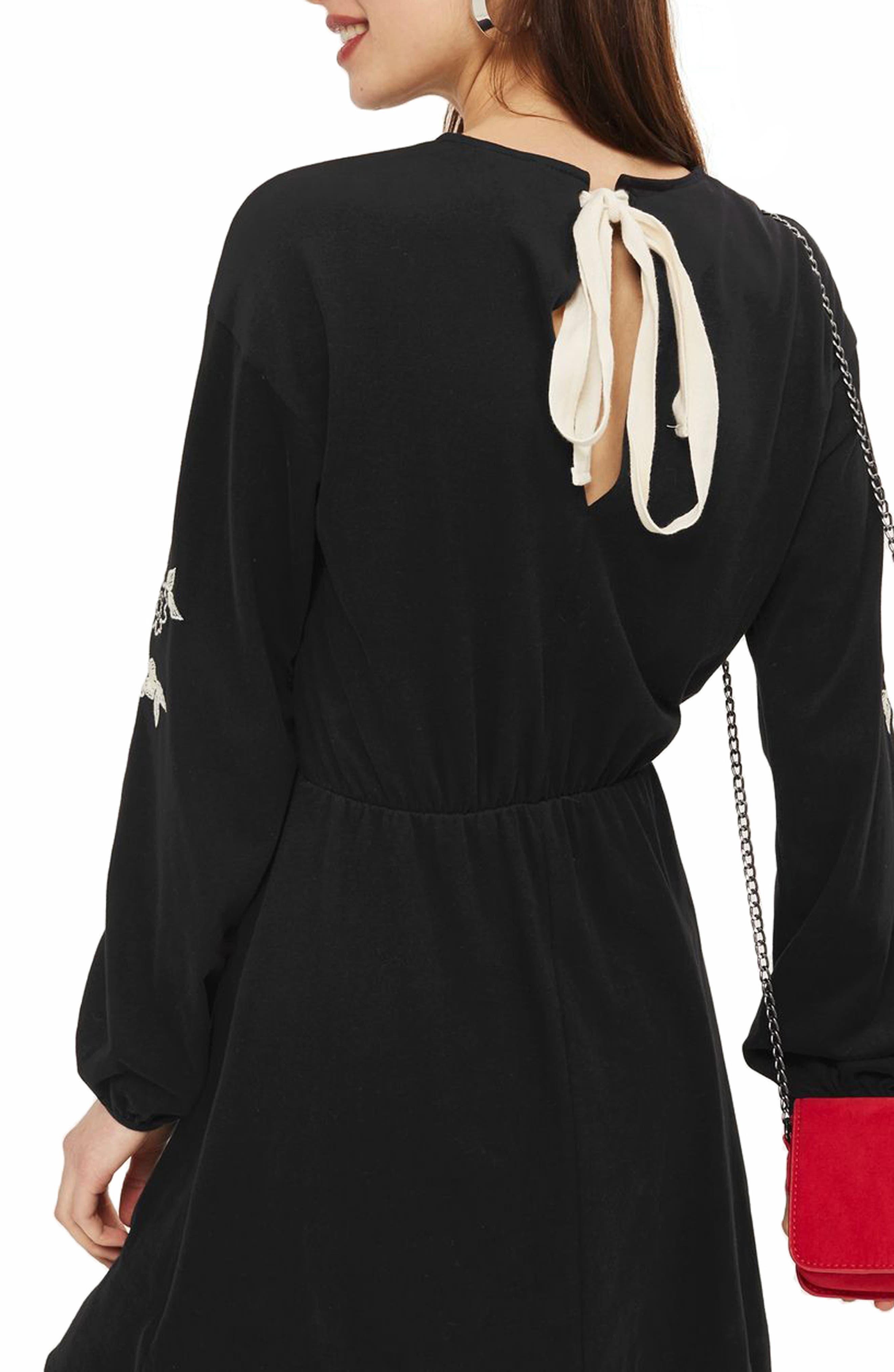 Embroidered Balloon Sleeve Skater Dress,                             Alternate thumbnail 2, color,                             Black