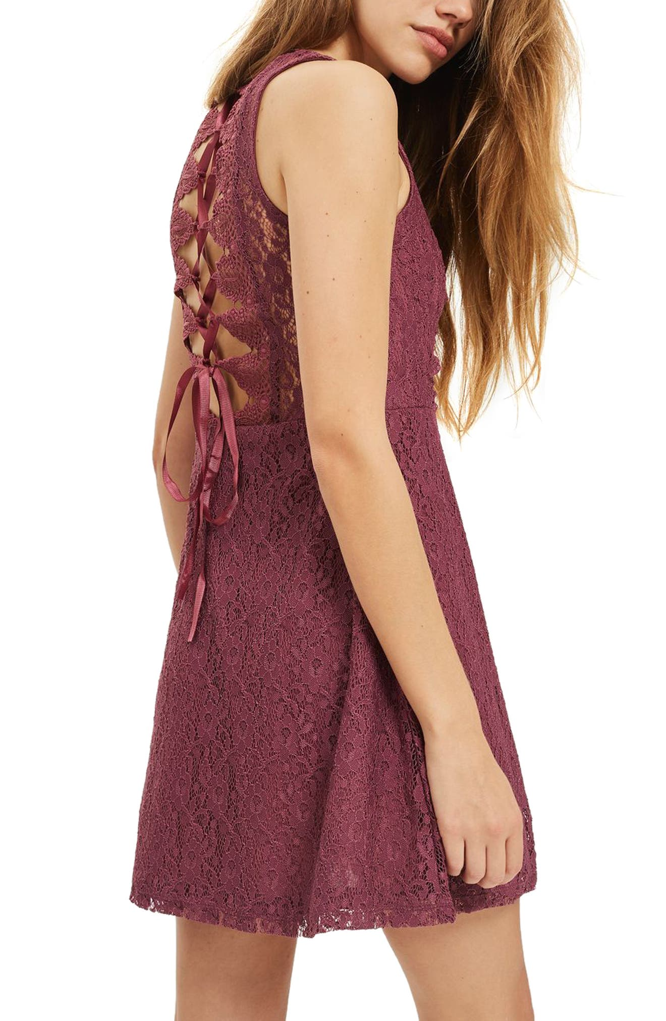 Lace-Up Lace Skater Dress,                             Alternate thumbnail 3, color,                             Purple