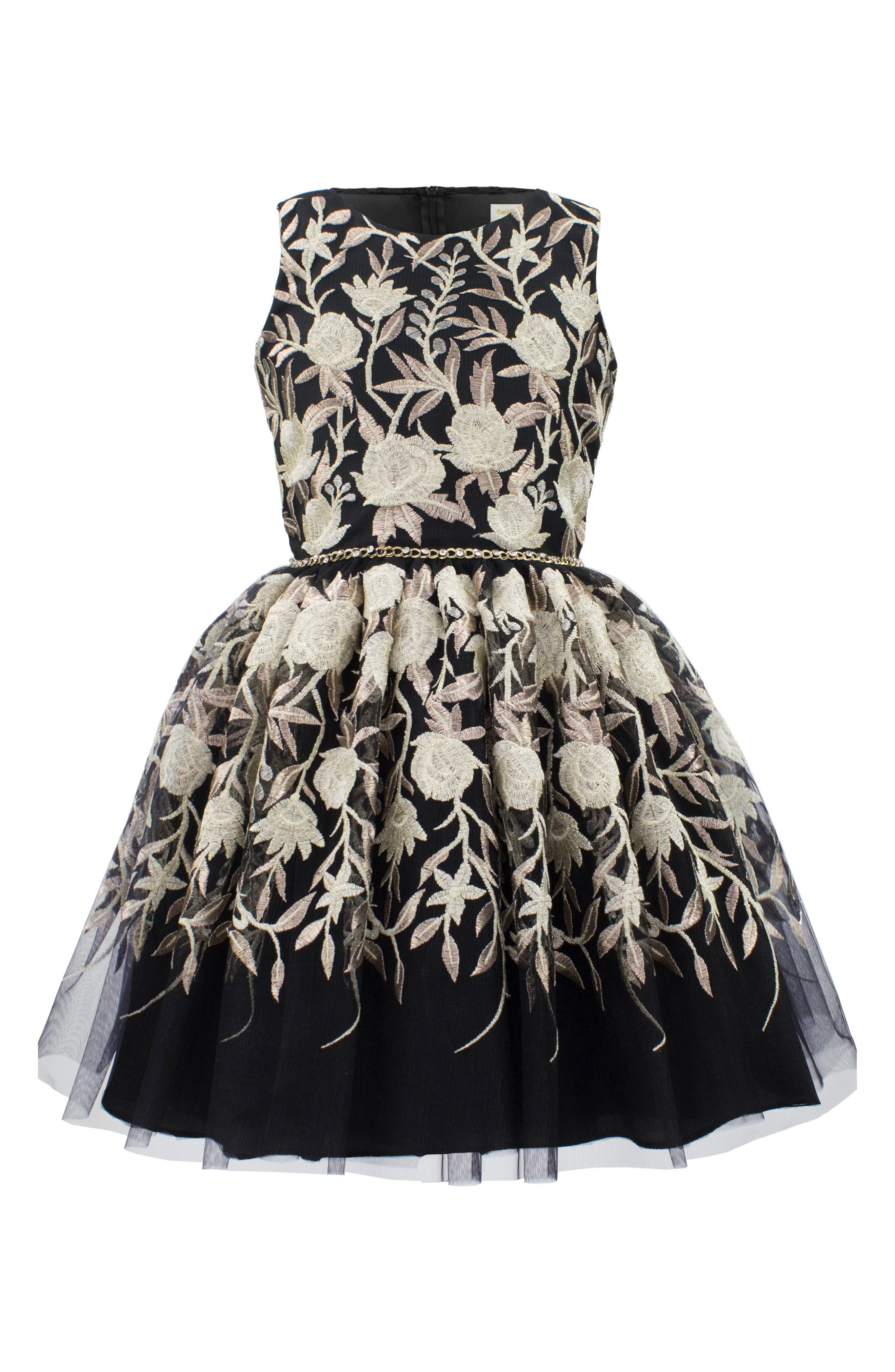 Embroidered Tulle Dress,                             Main thumbnail 1, color,                             Black/ Gold