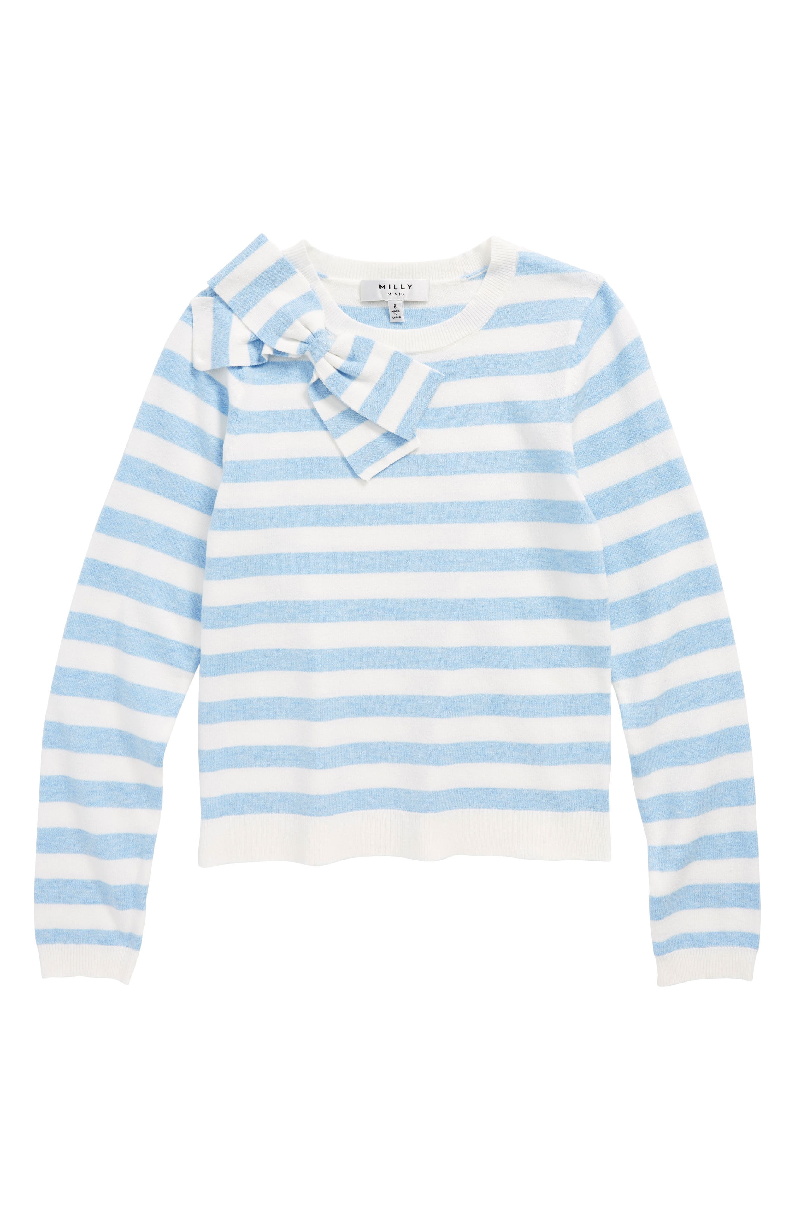 Bow Sweater,                         Main,                         color, Chambray/ White