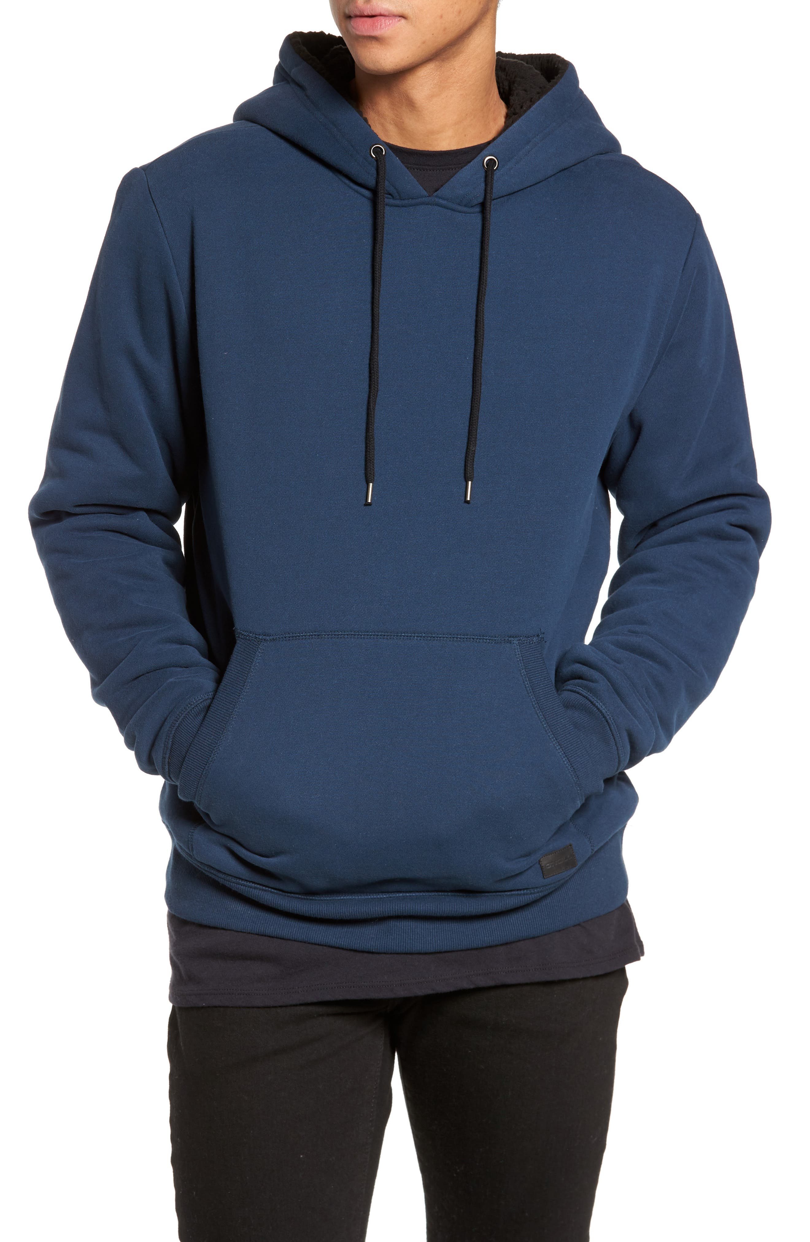 Staple Faux Shearling Trim Hoodie,                             Main thumbnail 1, color,                             Navy