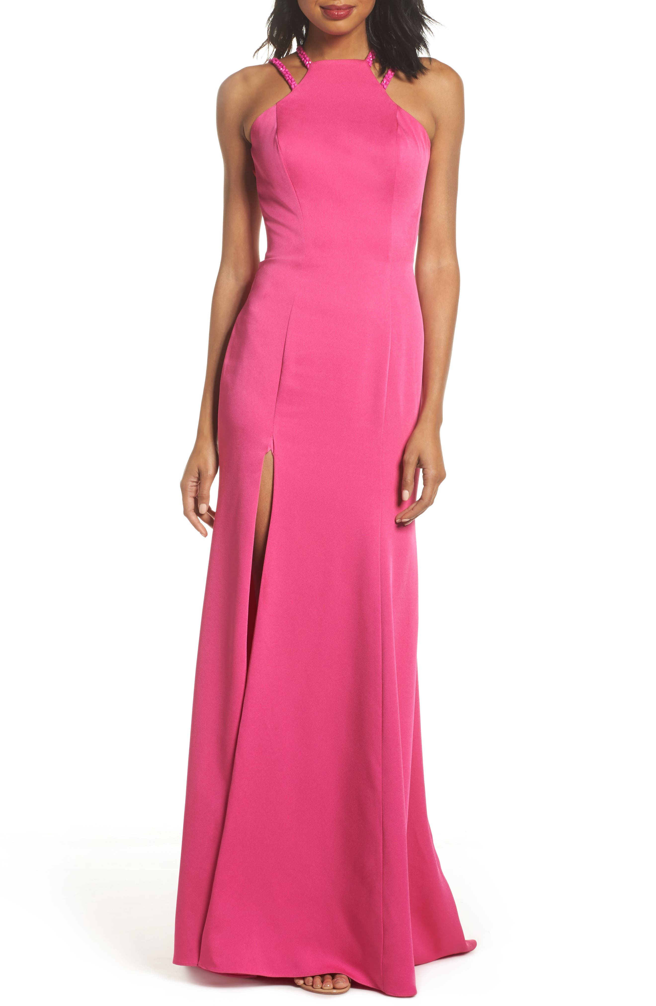 Beaded Strap Satin Gown,                         Main,                         color, Hot Fuchsia