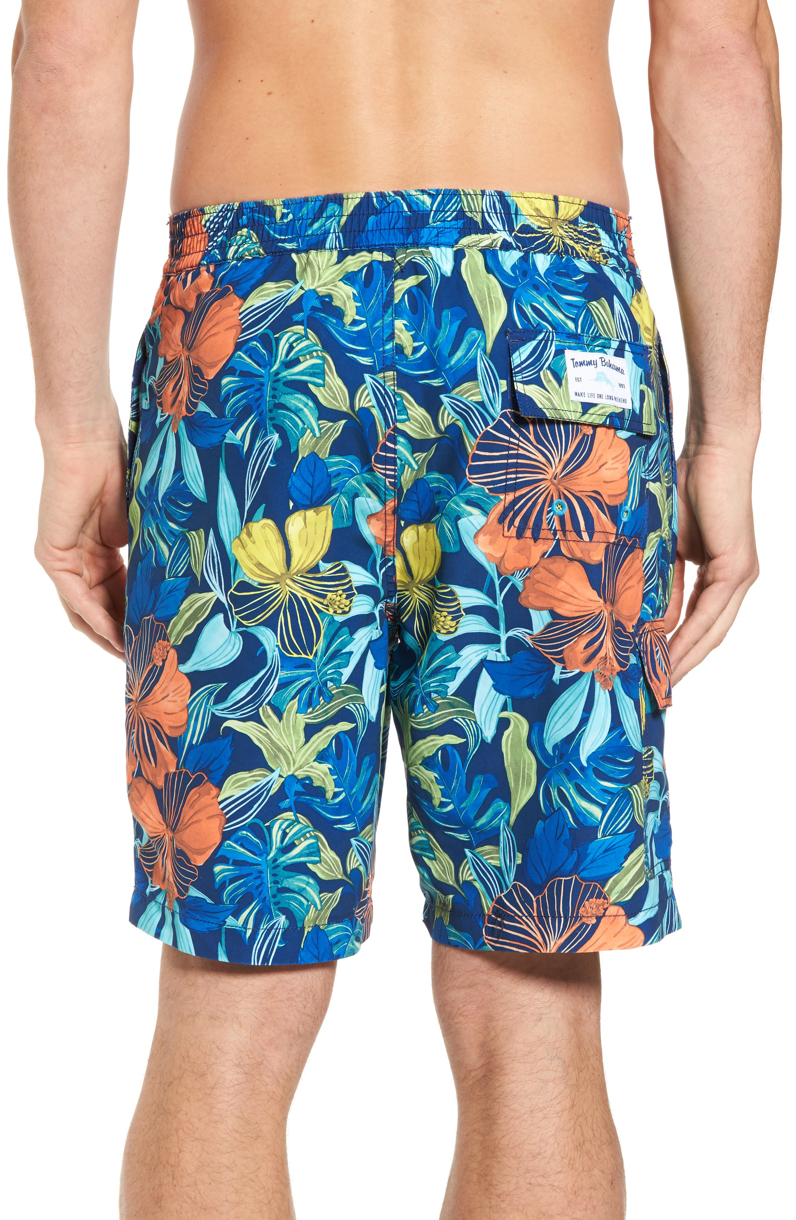 Baja Hibiscus Beach Swim Trunks,                             Alternate thumbnail 2, color,                             Kingdom Blue