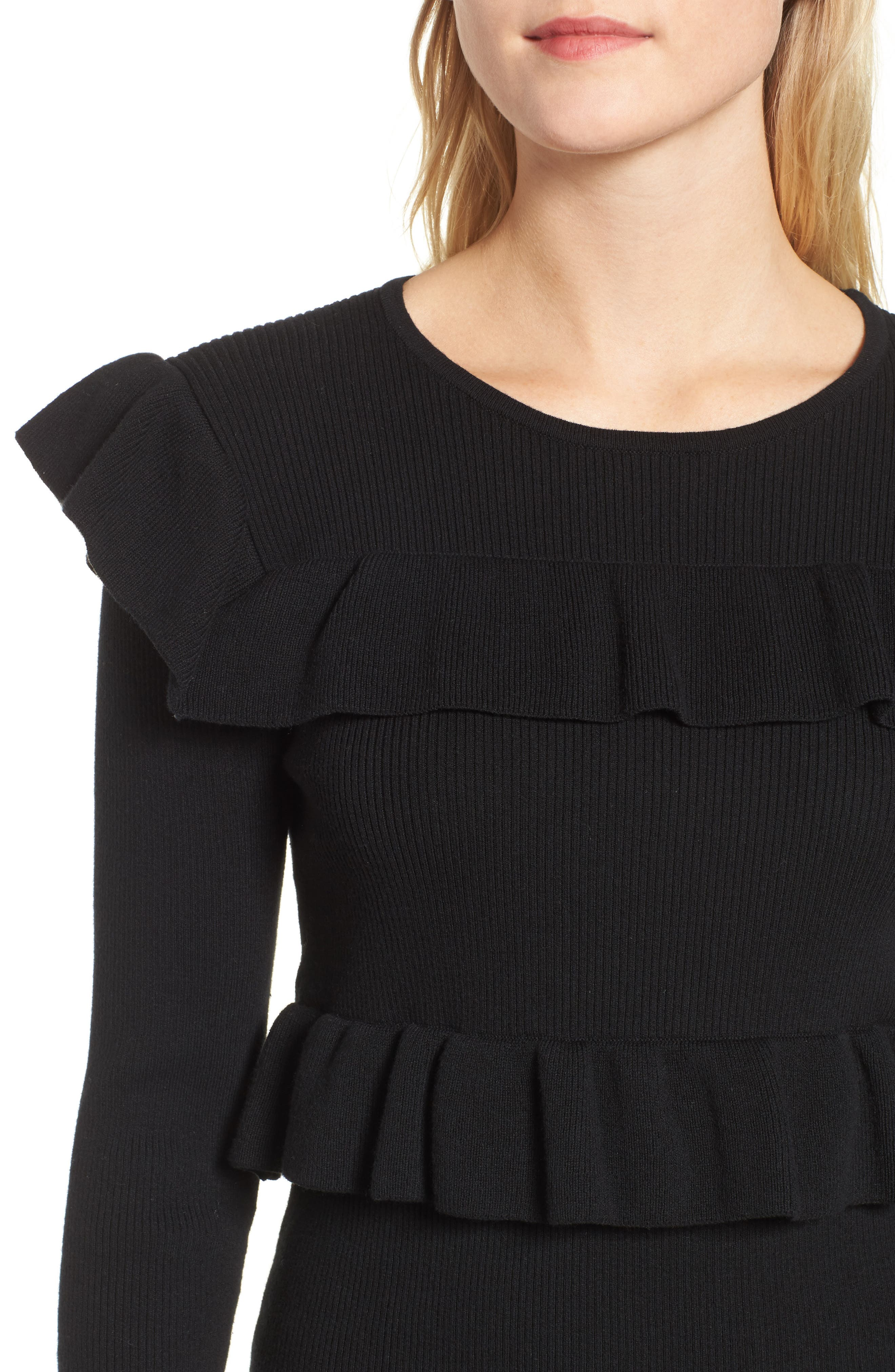 Bailey Ruffle Sweater,                             Alternate thumbnail 4, color,                             Black