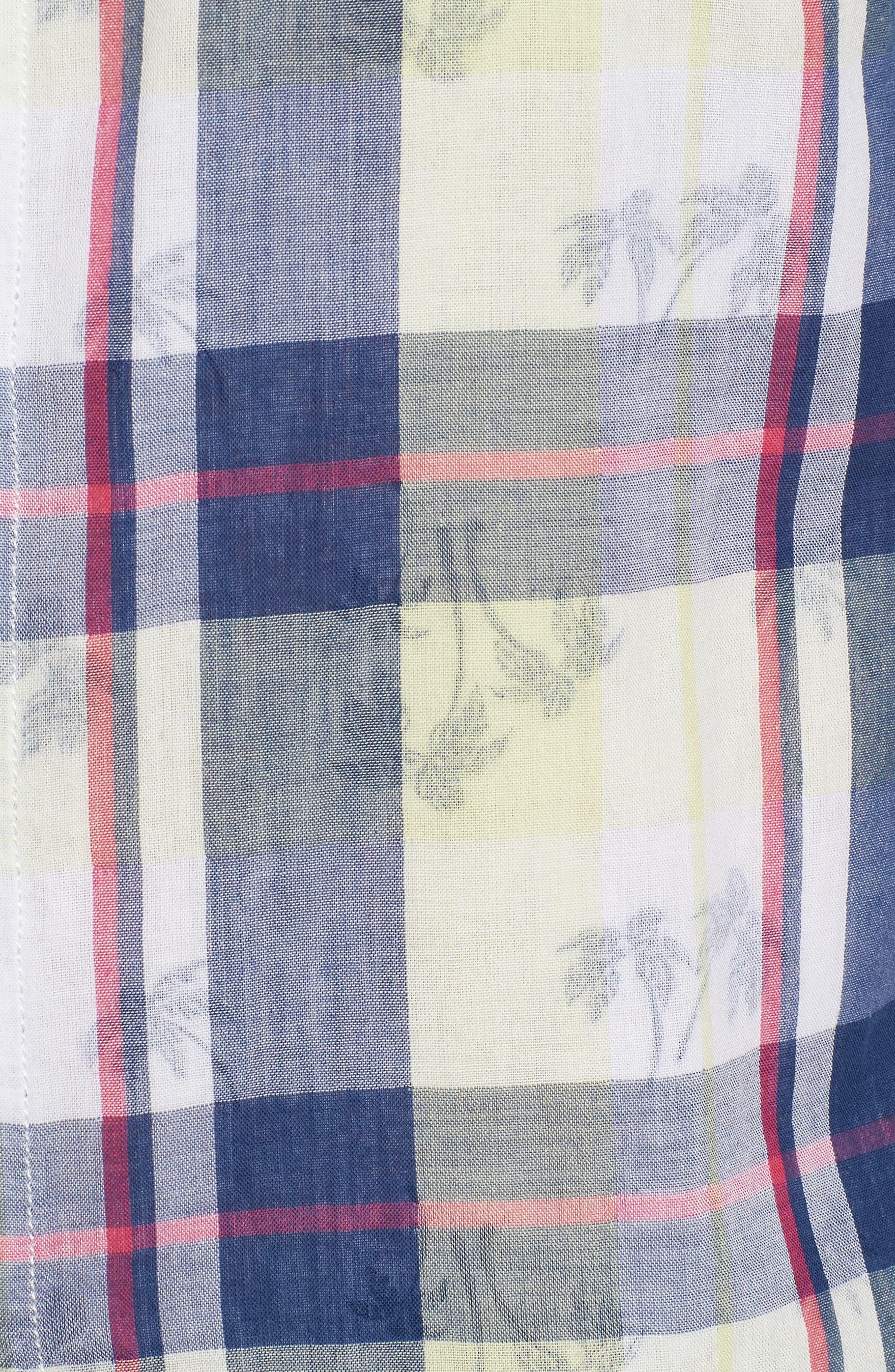 Double Flora Plaid Cotton Camp Shirt,                             Alternate thumbnail 5, color,                             Kingdom Blue