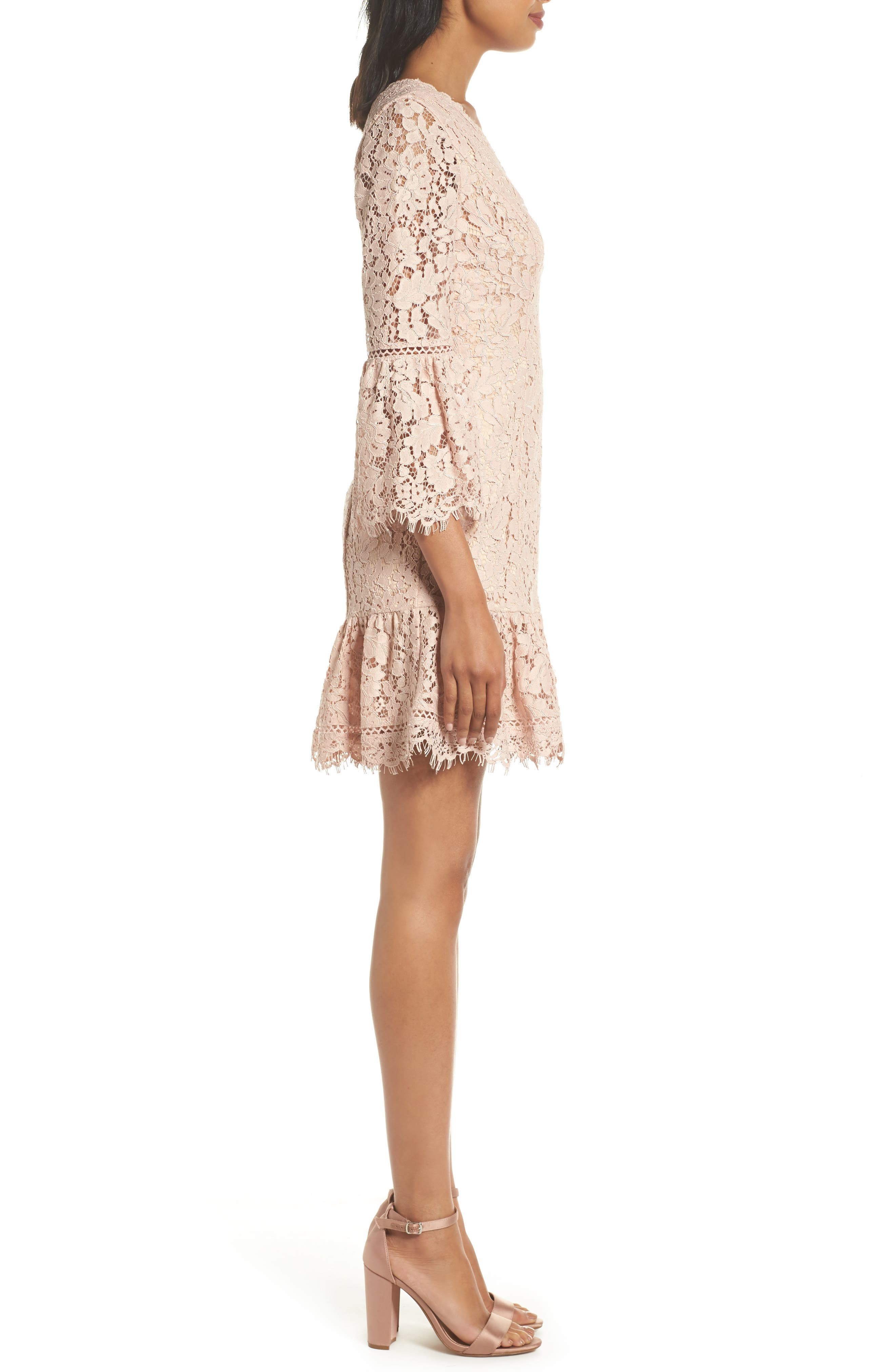 Bell Sleeve Lace Dress,                             Alternate thumbnail 3, color,                             Blush