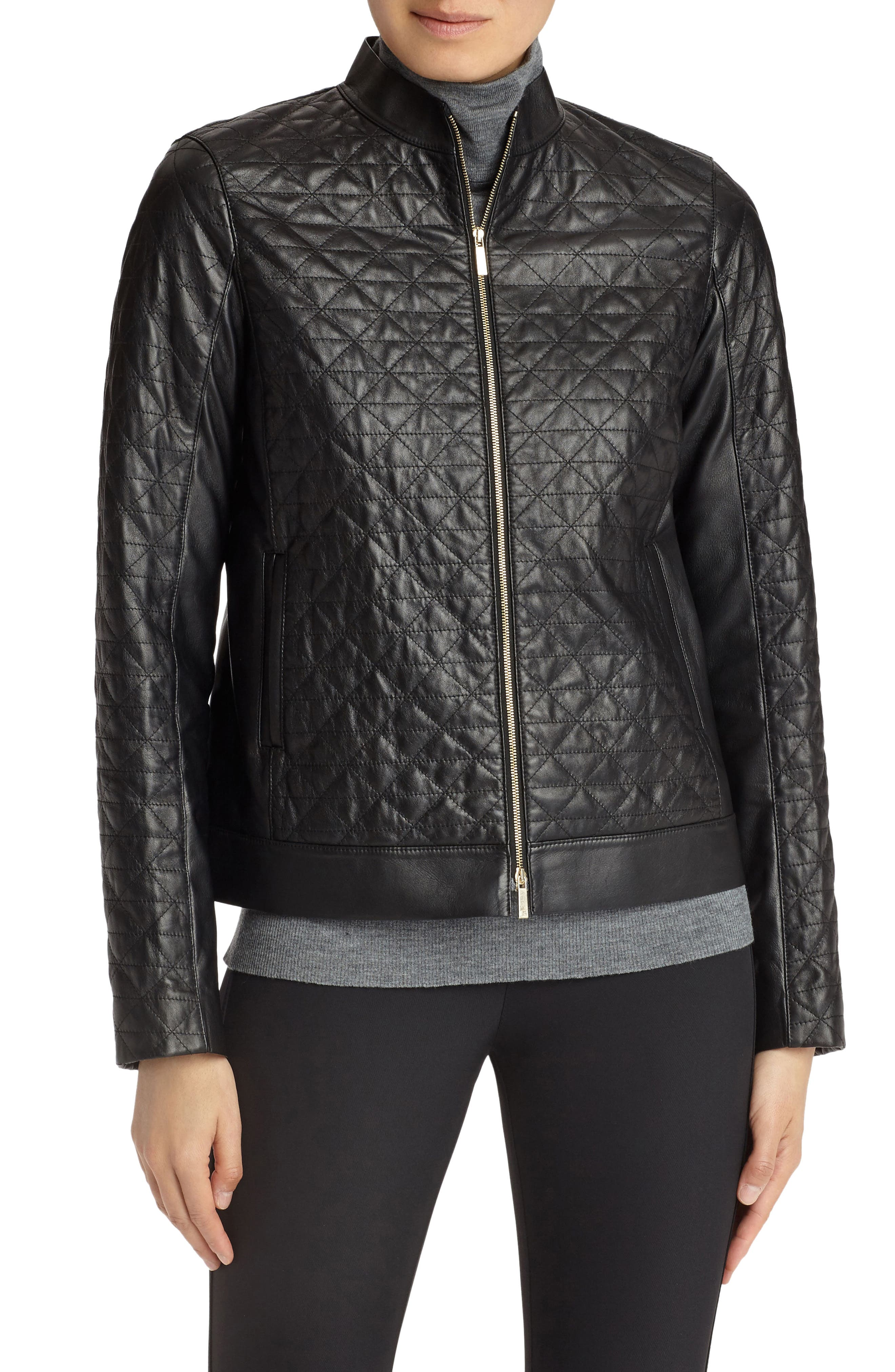Becks Quilted Lambskin Leather Moto Jacket,                             Main thumbnail 1, color,                             Black