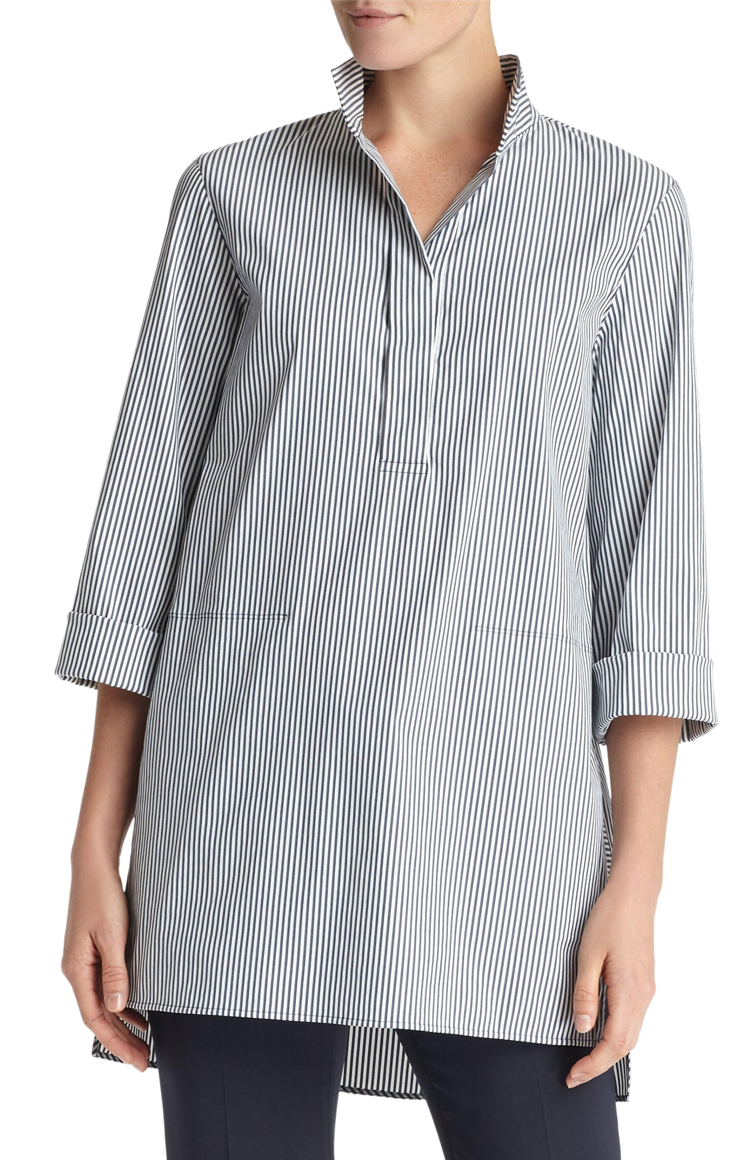 Desirae Freeport Stripe Shirting Blouse,                         Main,                         color, Admiral Blue Multi