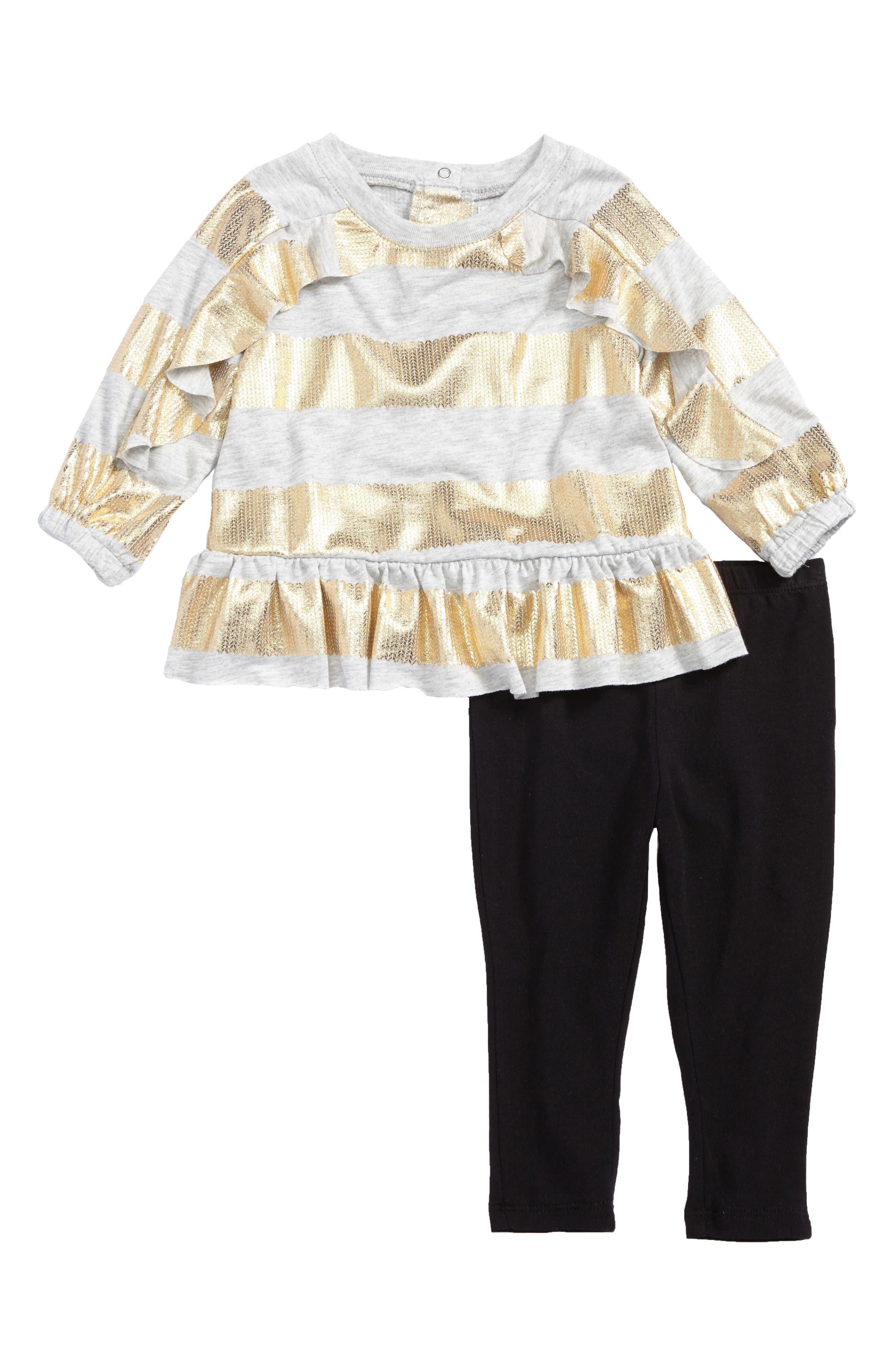 Shimmer Stripe Ruffle Top & Leggings Set,                             Main thumbnail 1, color,                             Stripe