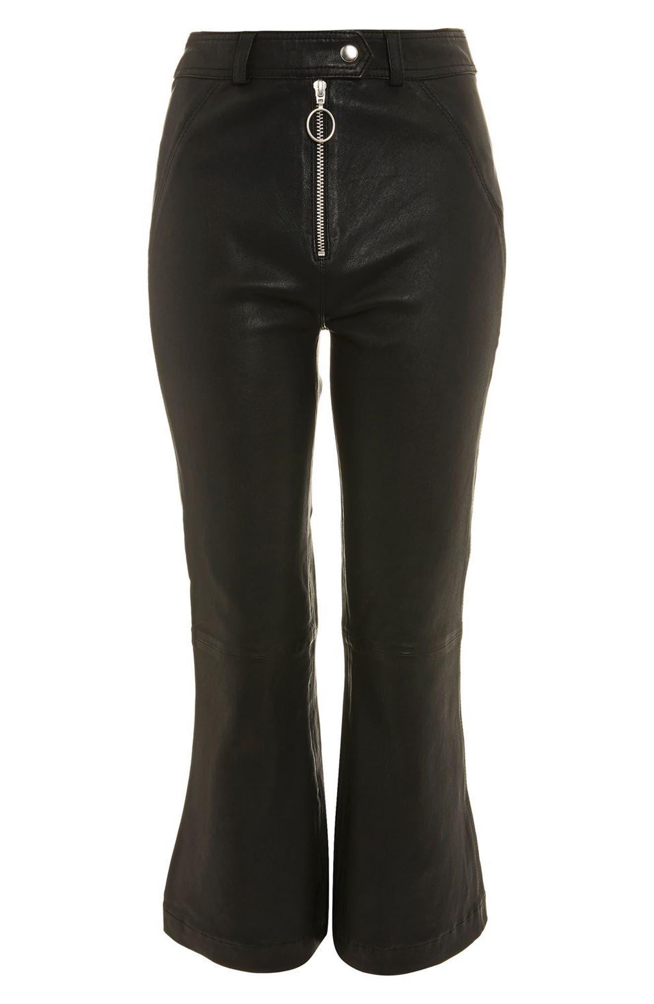 Premium Kick Flare Crop Leather Pants,                             Alternate thumbnail 6, color,                             Black