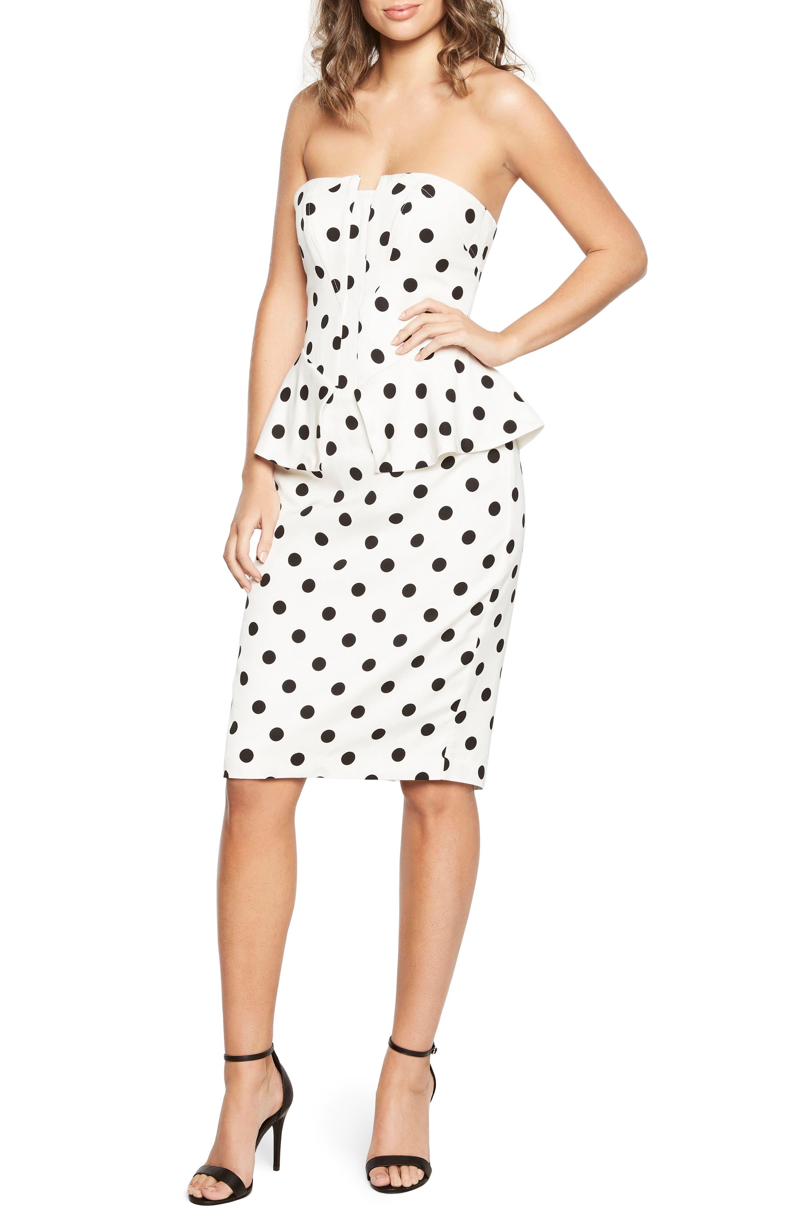 Suri Polka Dot Peplum Dress,                             Main thumbnail 1, color,                             White Spot