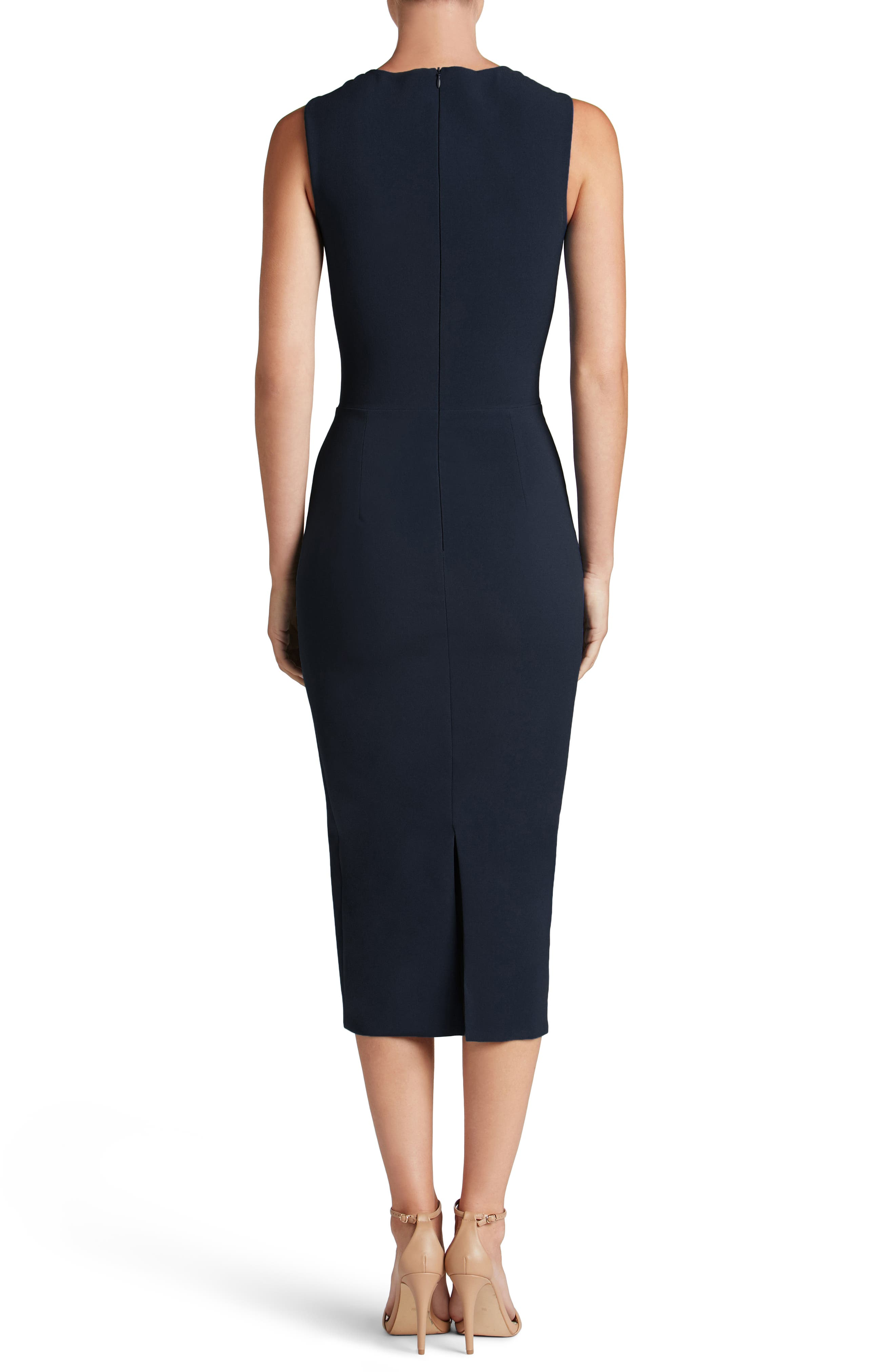Helen Plunge Neck Midi Dress,                             Alternate thumbnail 2, color,                             Midnight Blue