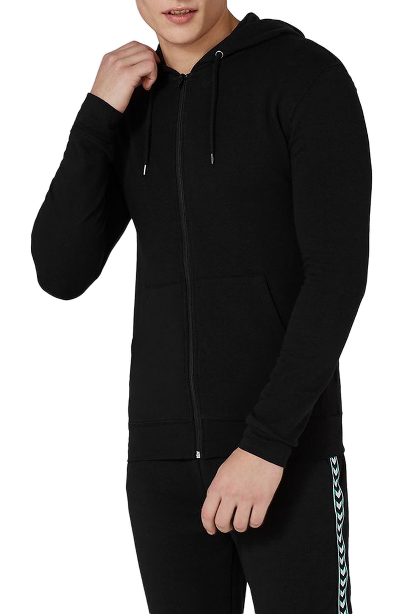 Muscle Fit Zip Through Hoodie,                         Main,                         color, Black
