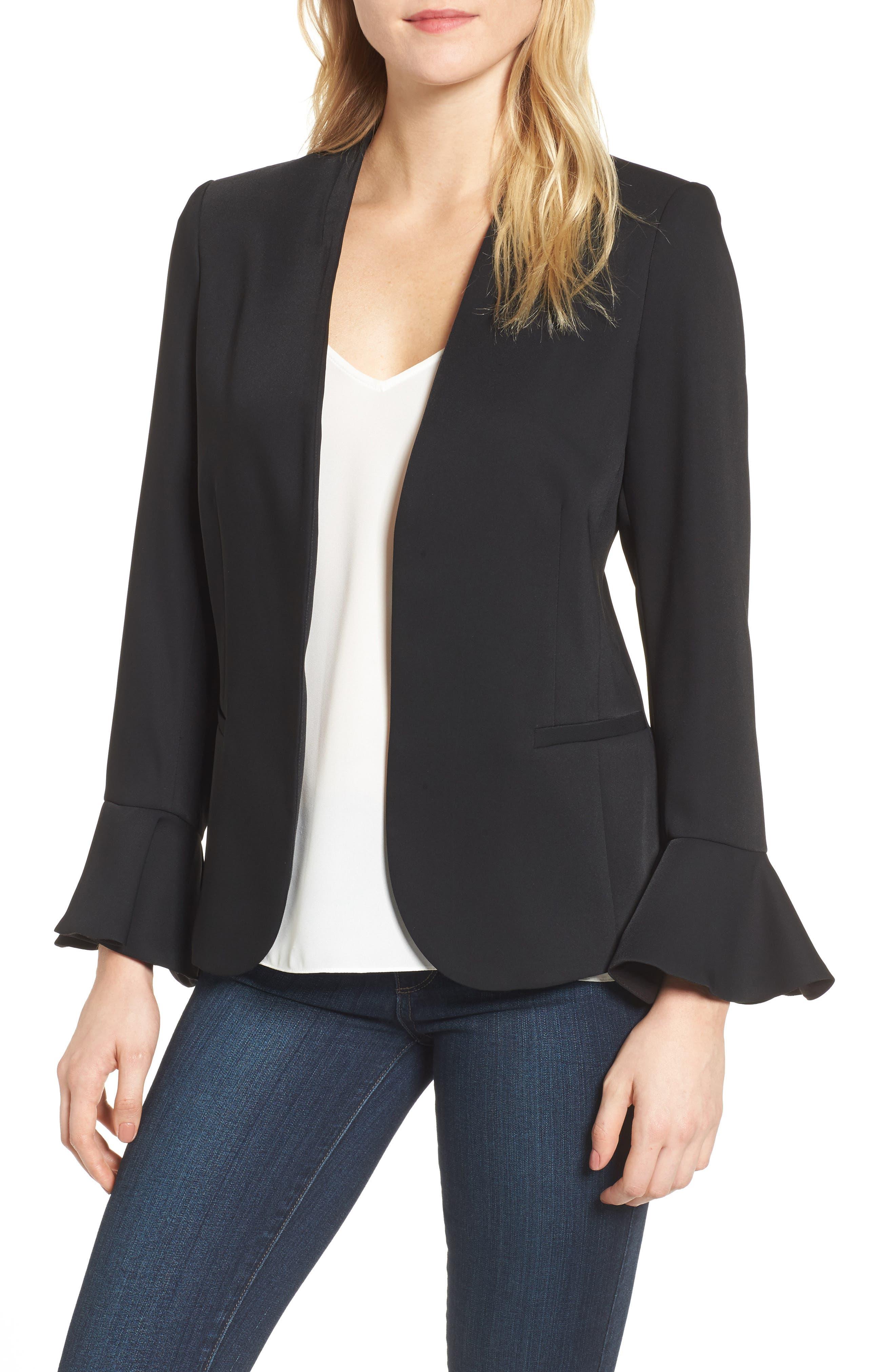 Bell Sleeve Blazer,                         Main,                         color, Black