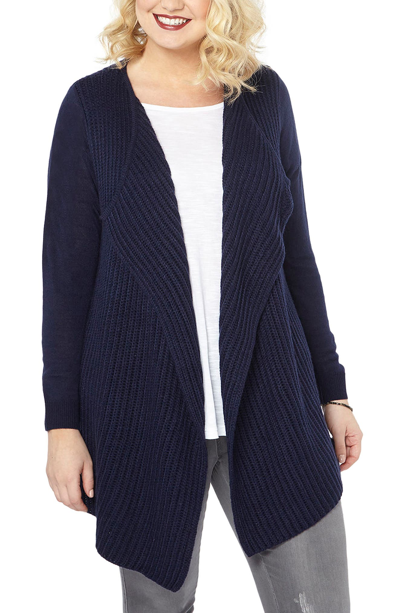 Alternate Image 1 Selected - Evans Chunky Waterfall Cardigan (Plus Size)