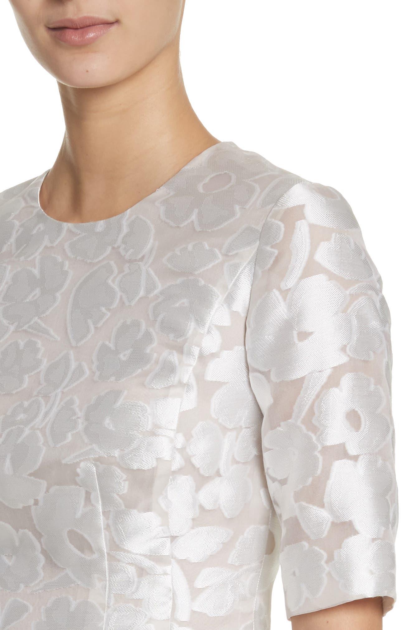 Holly Flower Print Dress,                             Alternate thumbnail 4, color,                             White