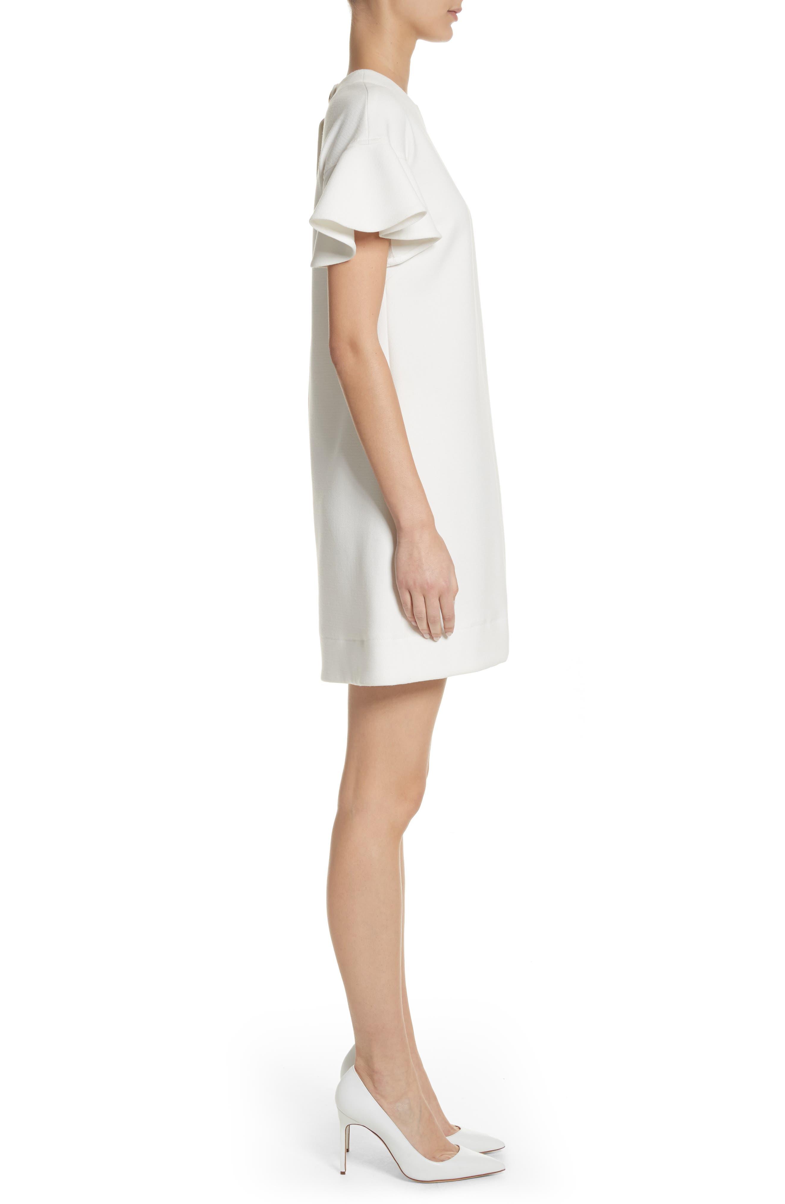 Flutter Sleeve Wool Blend Shift Dress,                             Alternate thumbnail 3, color,                             White