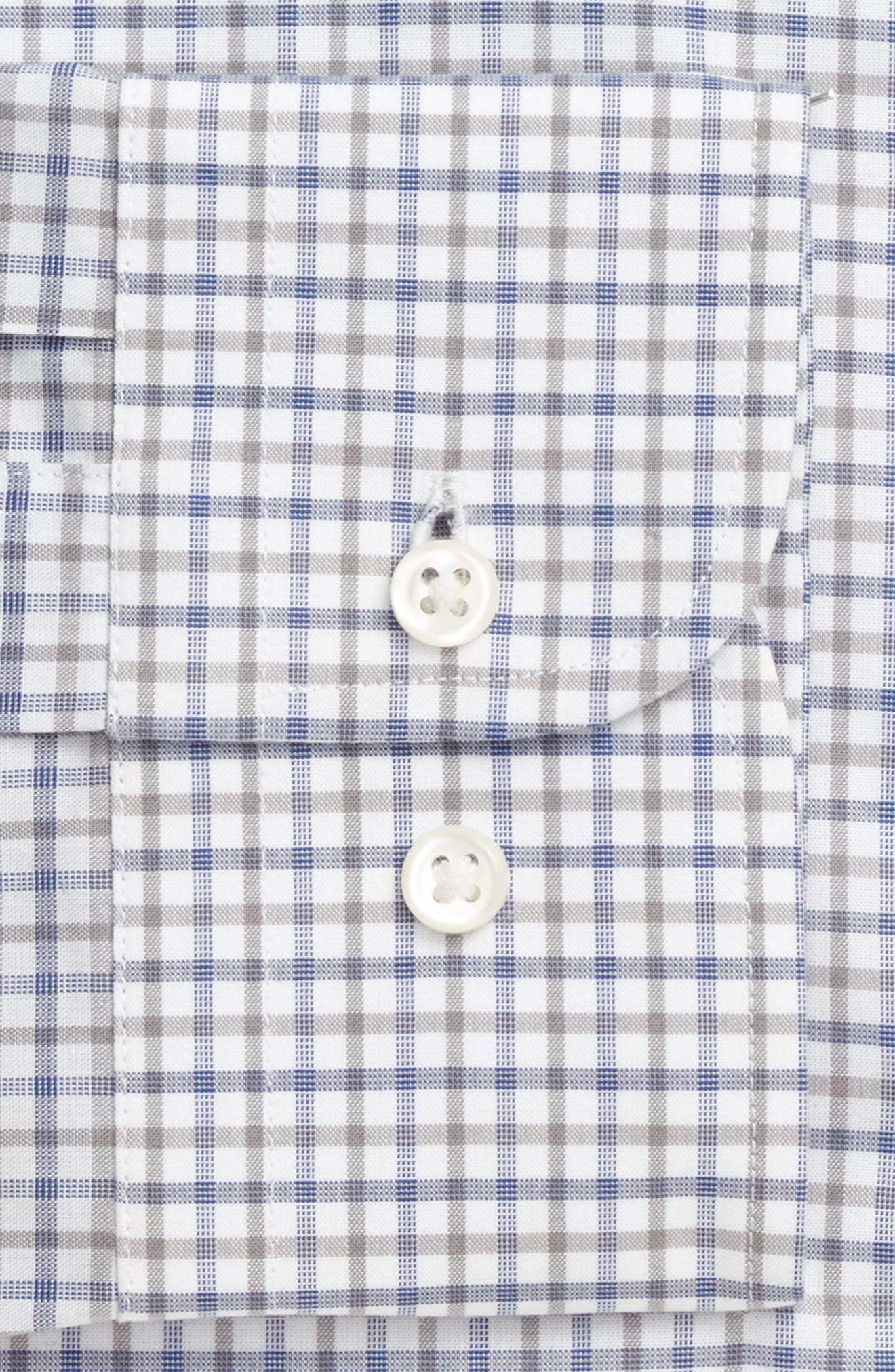 Extra Trim Fit Check Dress Shirt,                             Alternate thumbnail 6, color,                             Grey Sleet