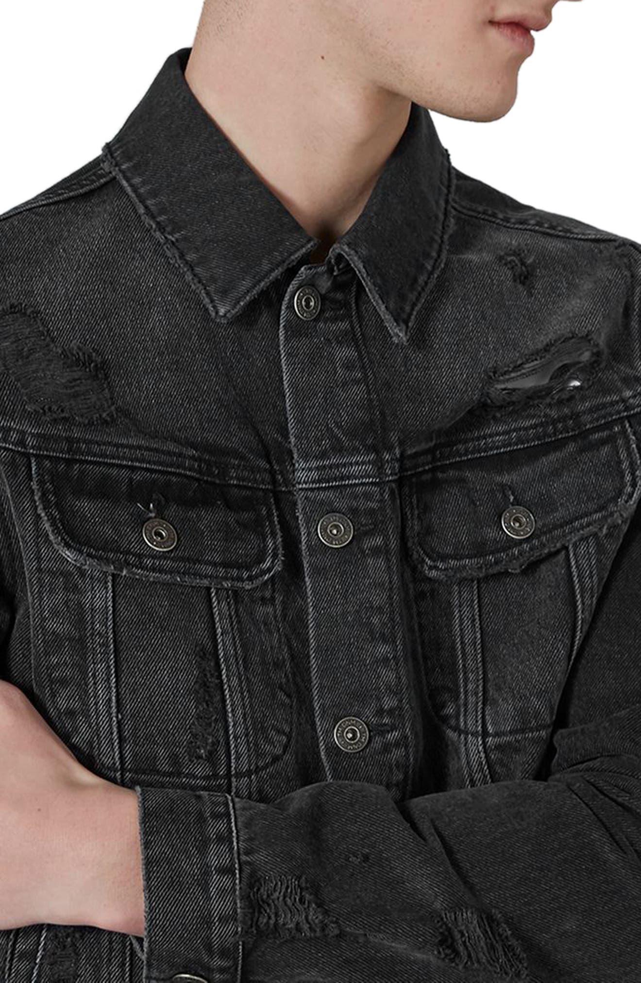 Alternate Image 3  - Topman Piro Distressed Denim Jacket