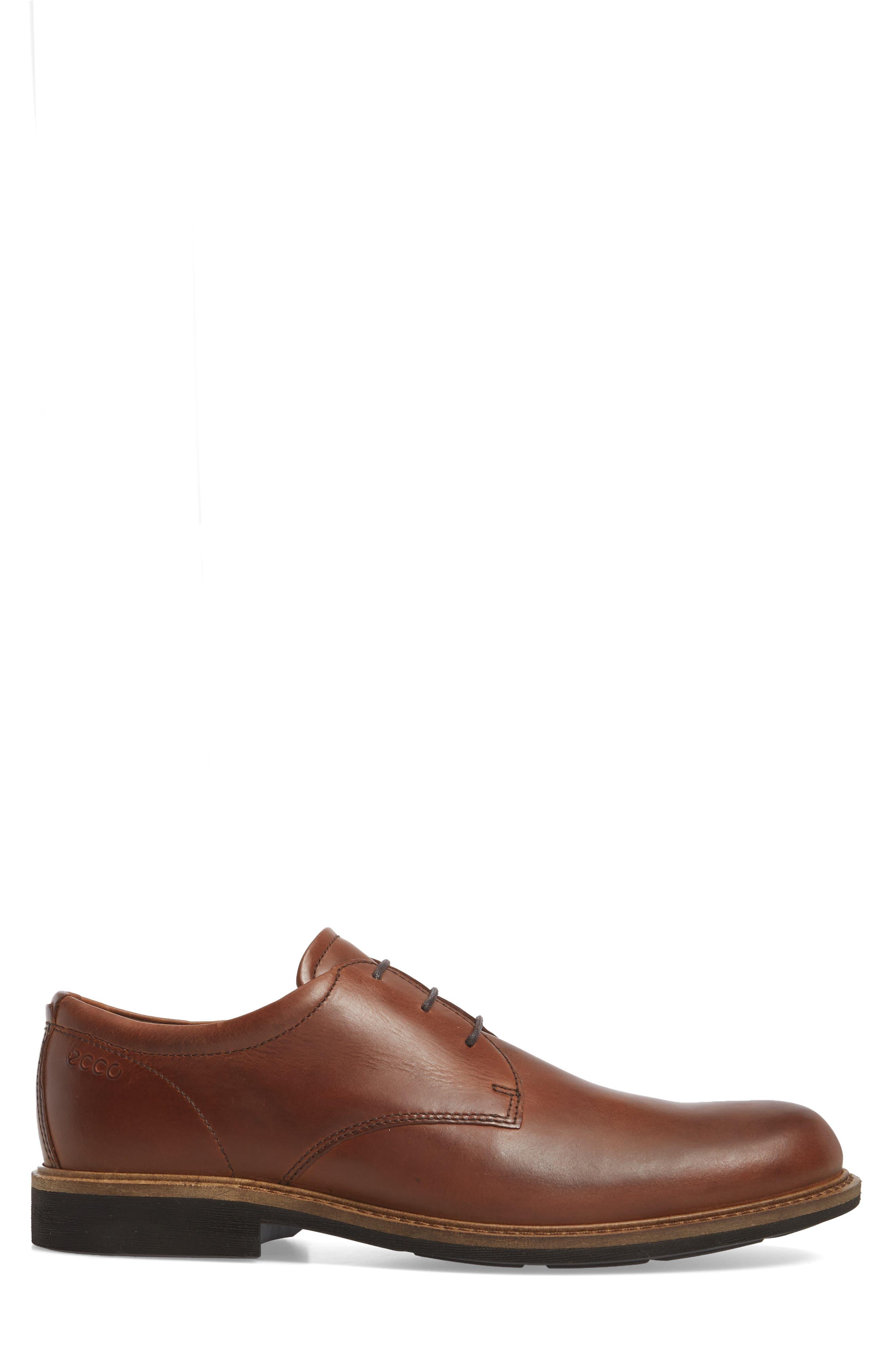 Findlay Plain Toe Derby,                             Alternate thumbnail 3, color,                             Cognac Leather